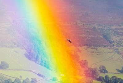 A Royal Air Force GR Tornado Soars Through a Rainbow in the Cambrian Mountains Wales wallpaper