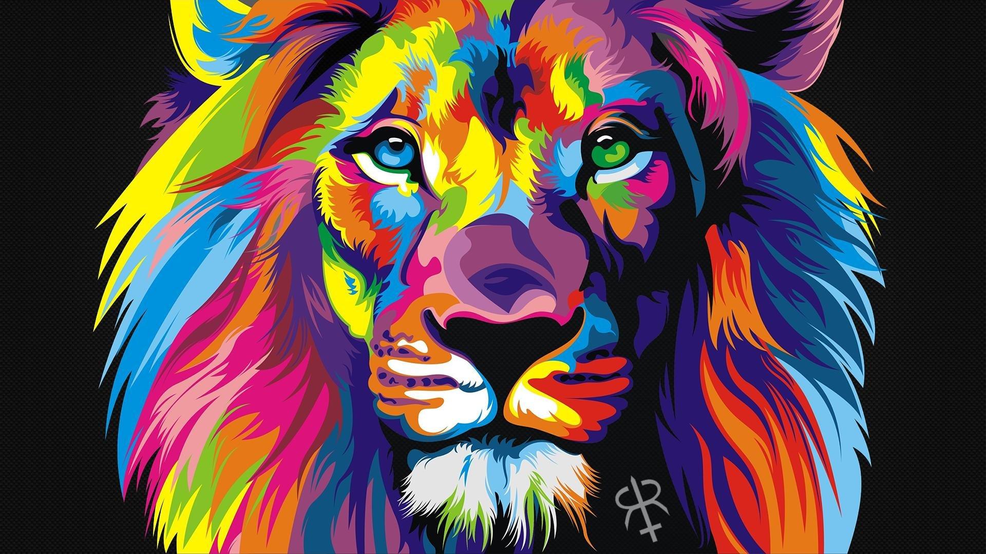 Colorful Lion Hd Wallpaper