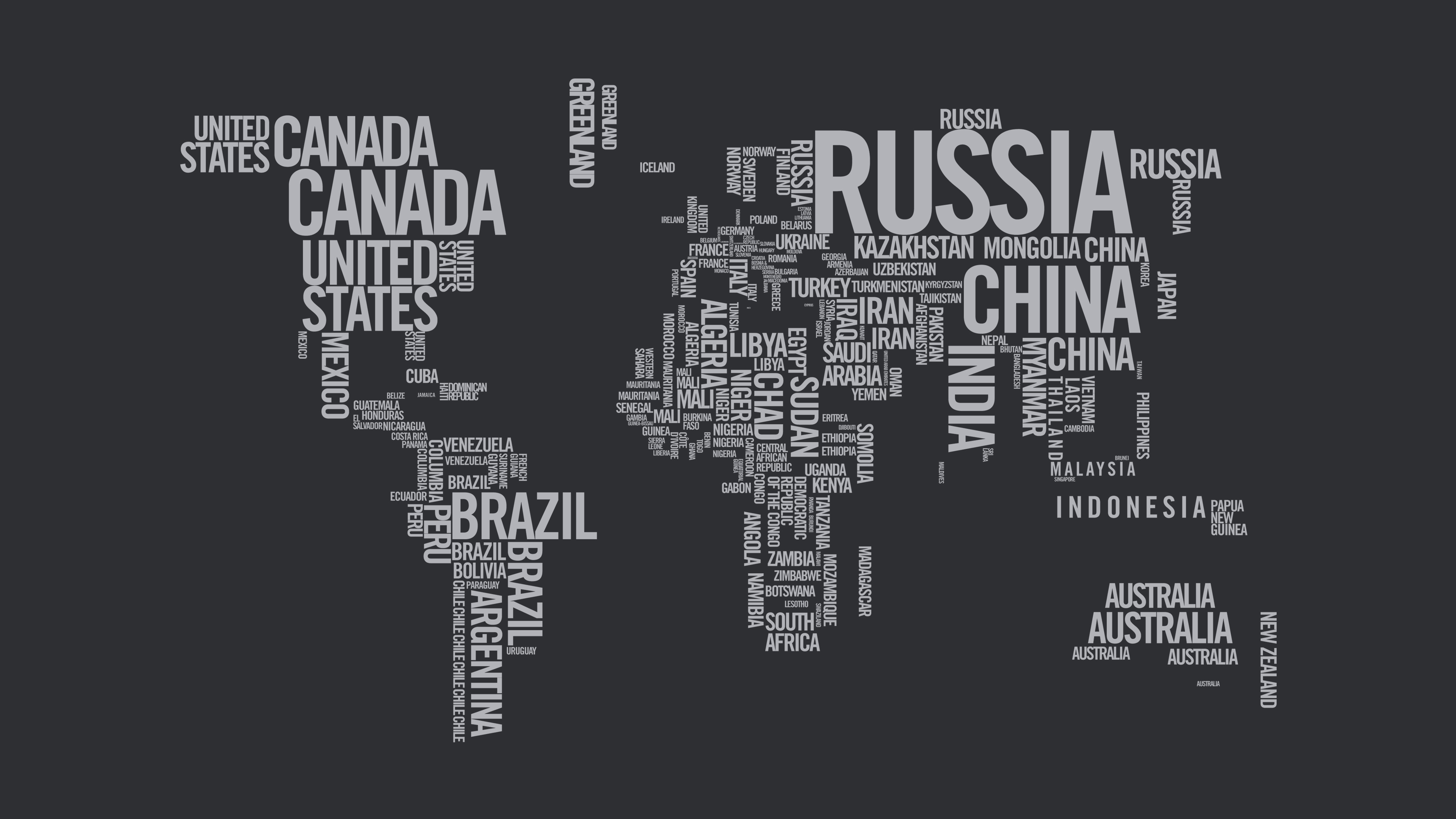 World Map Typography 4k Wallpaper