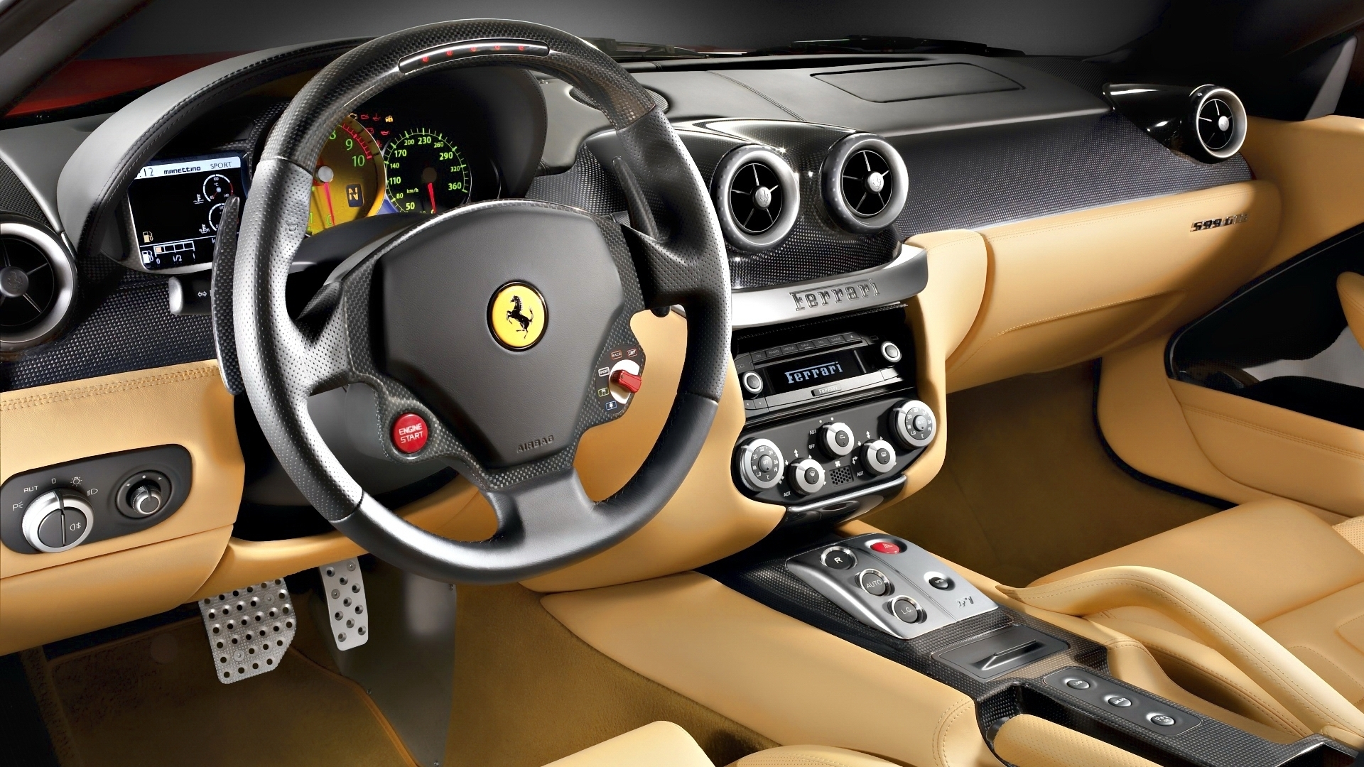 cool beige ferrari interior hd wallpaper. Black Bedroom Furniture Sets. Home Design Ideas