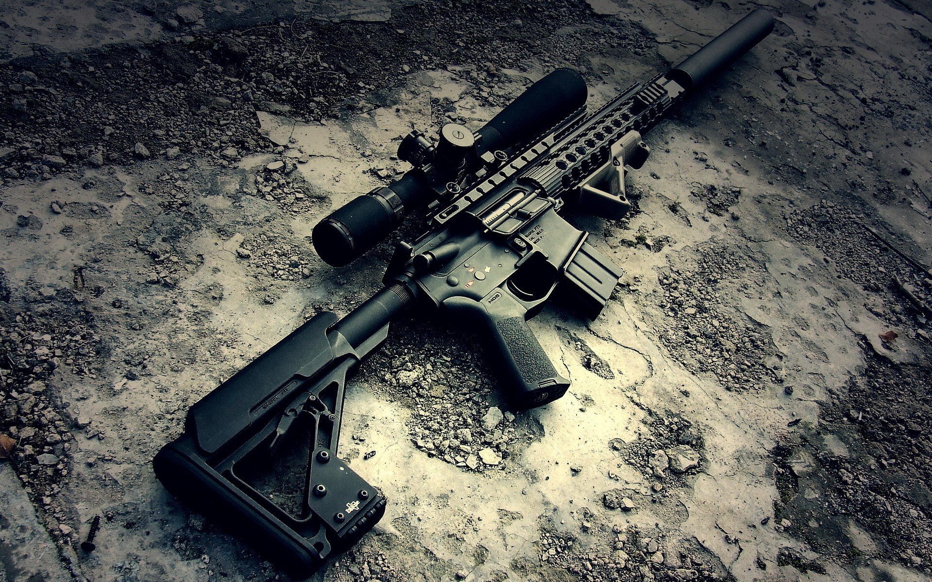 M4a1 Gun With Sniper Hd Wallpaper