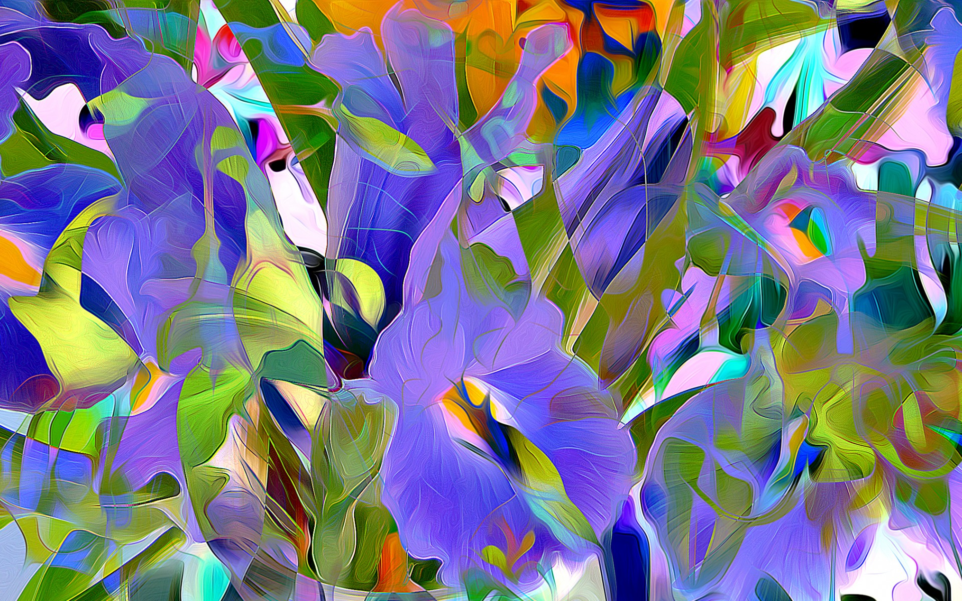 Abstract Flowers Painting Hd Wallpaper