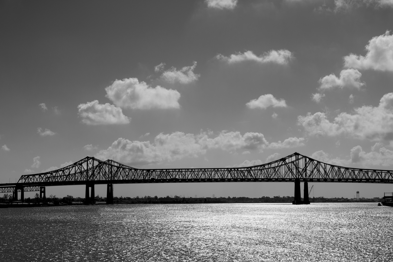 black and white bridges clouds sky 4k wallpaper