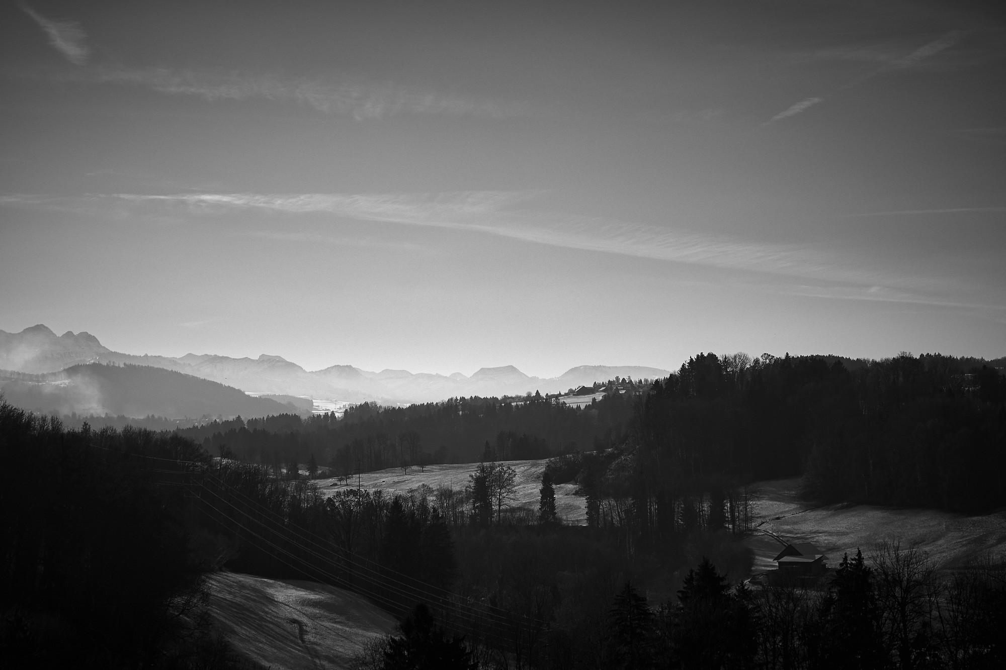 Black And White Landscapes Mountains Trees Winter Hd Wallpaper