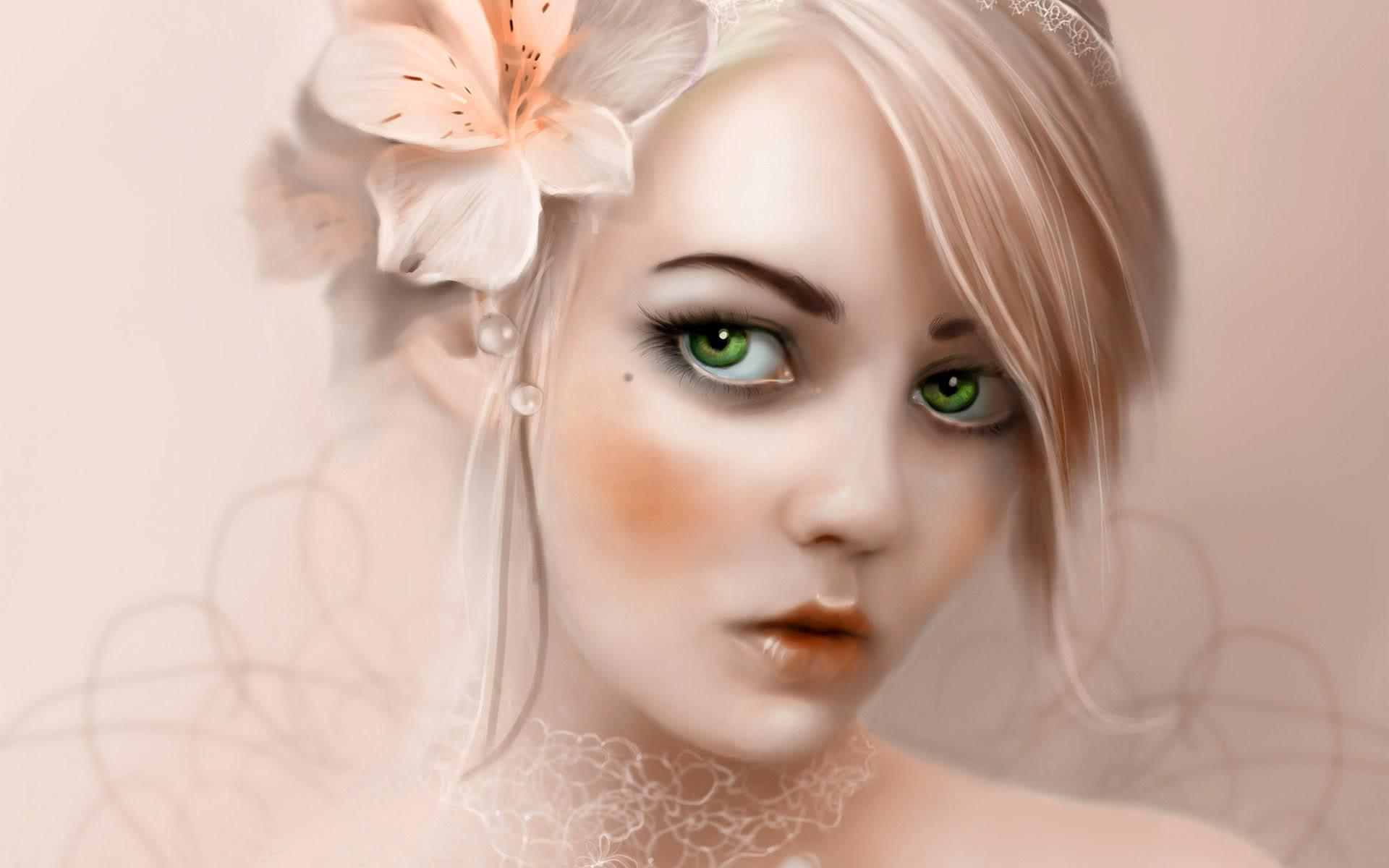 Blonde Hair Green Eyes Girl Hd Wallpaper