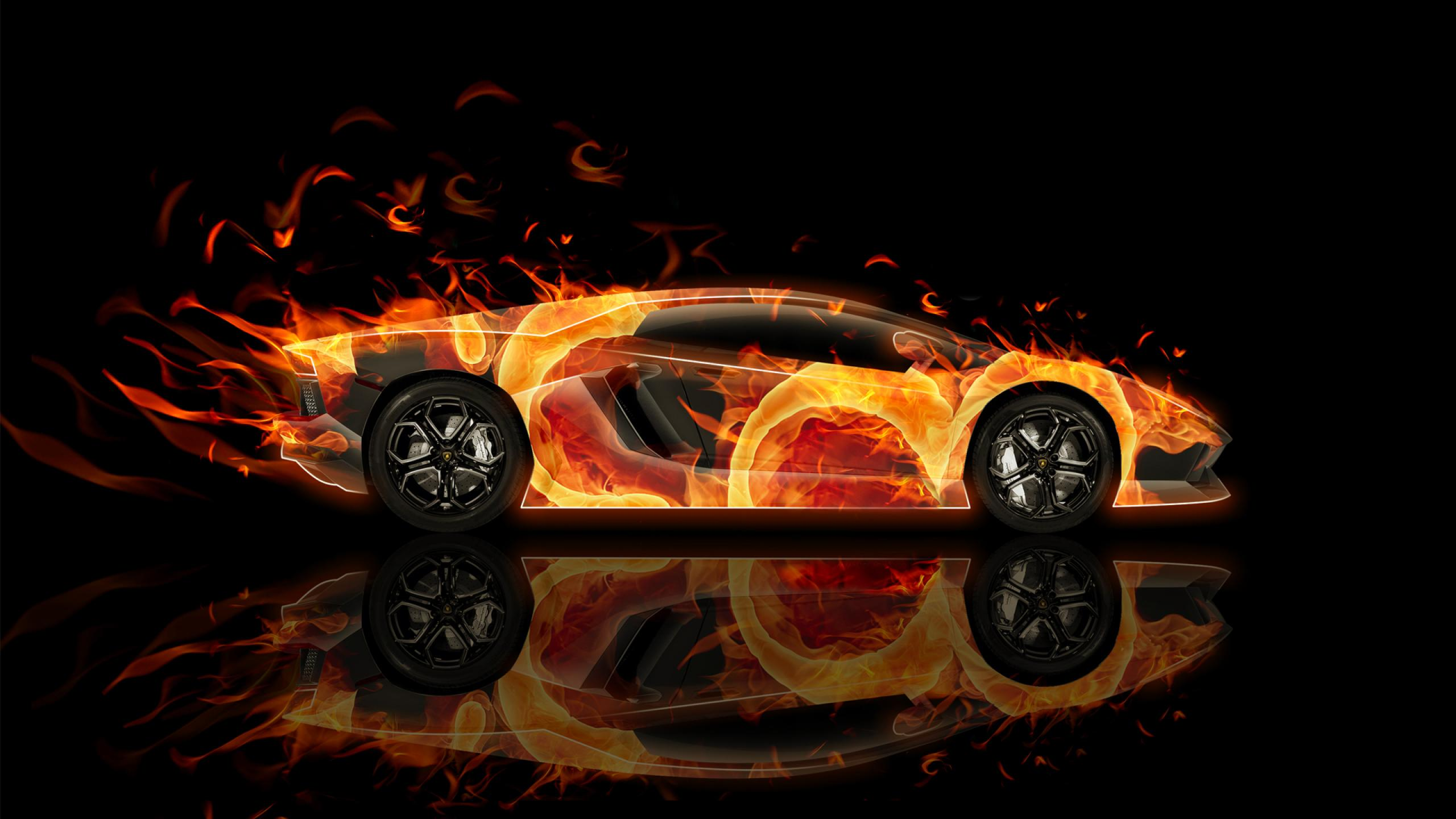 Lamborghini Aventador Fire Hd Wallpaper
