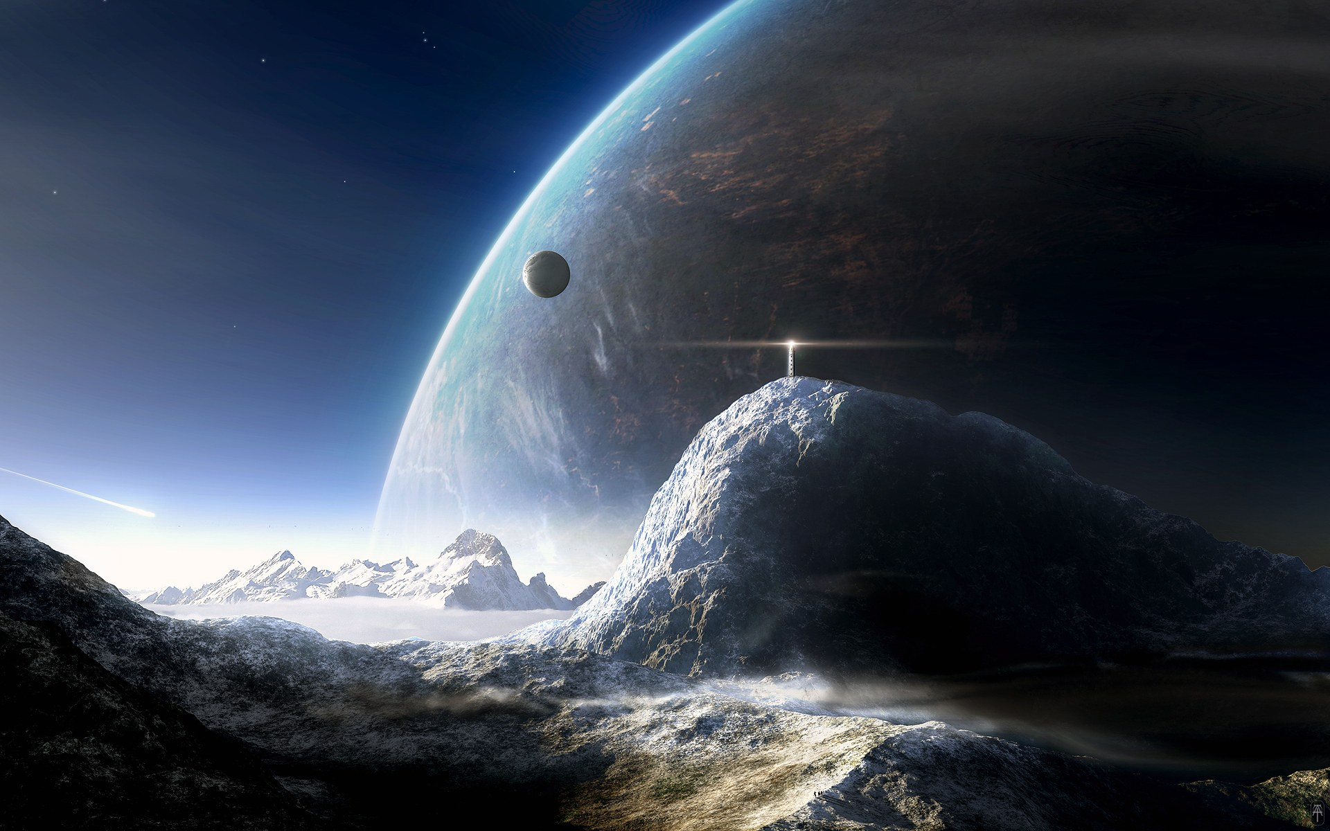 Universe And Planets Digital Art Winter Hd Wallpaper