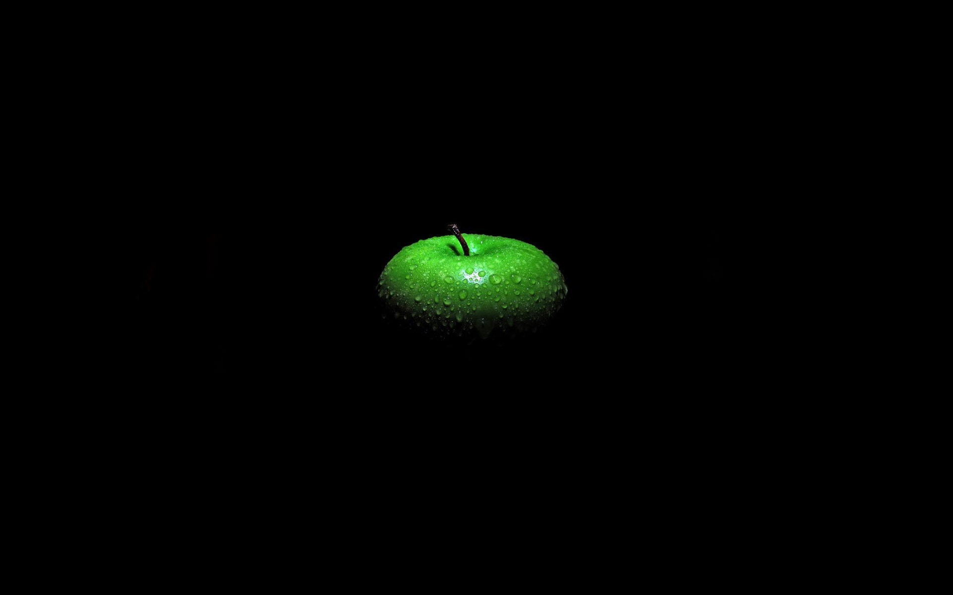 Green Apple Black Background Hd Wallpaper