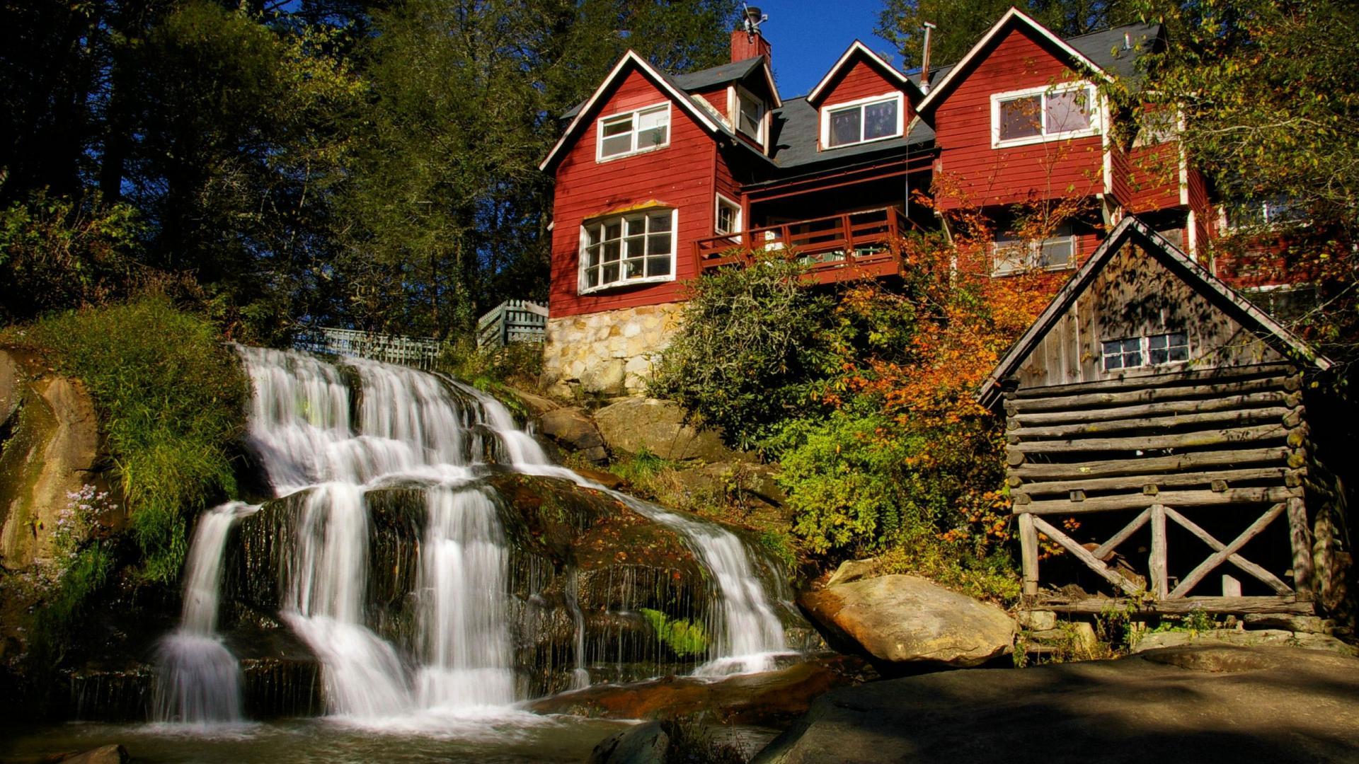 Waterfall House HD wallpaper