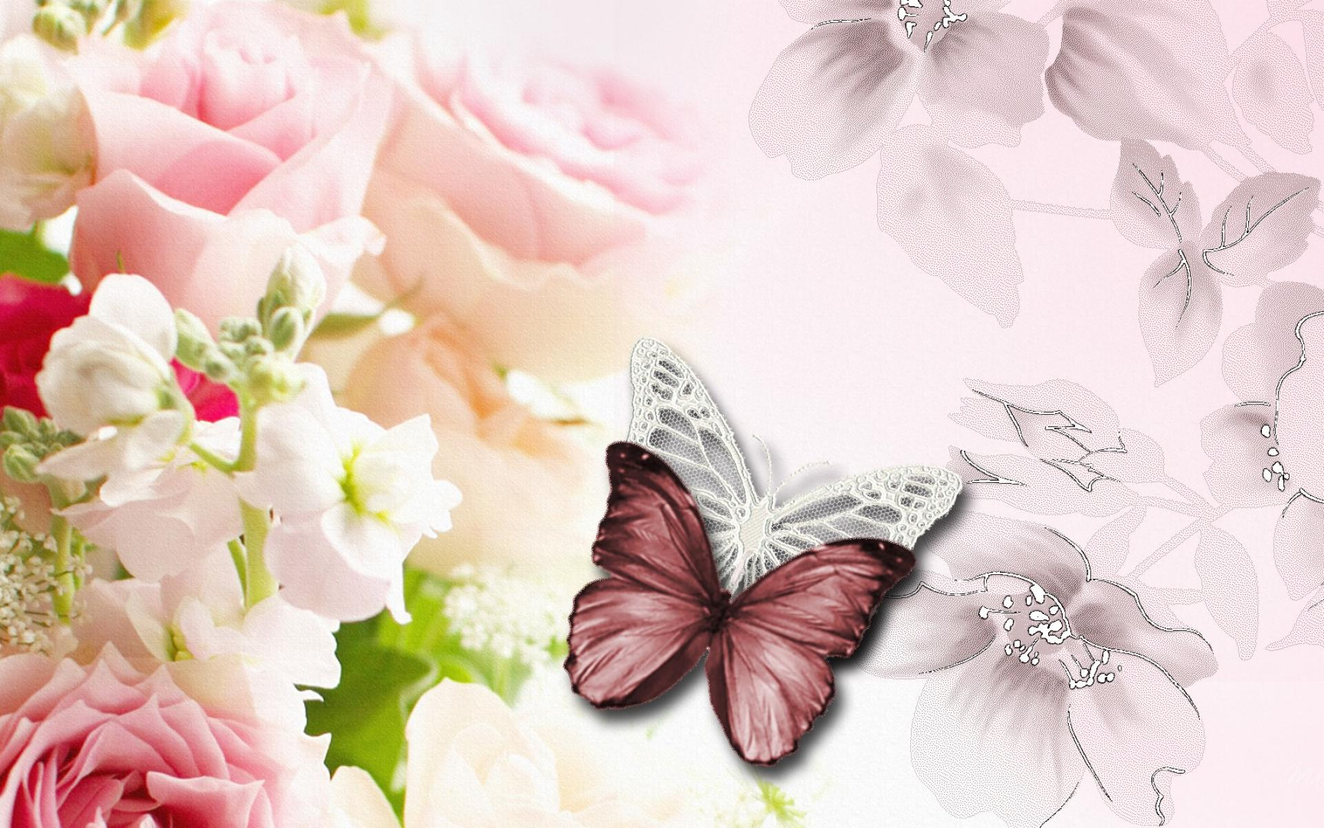 Abstraction Floral Abstract Butterflies Flowers Lace Roses Hd Wallpaper