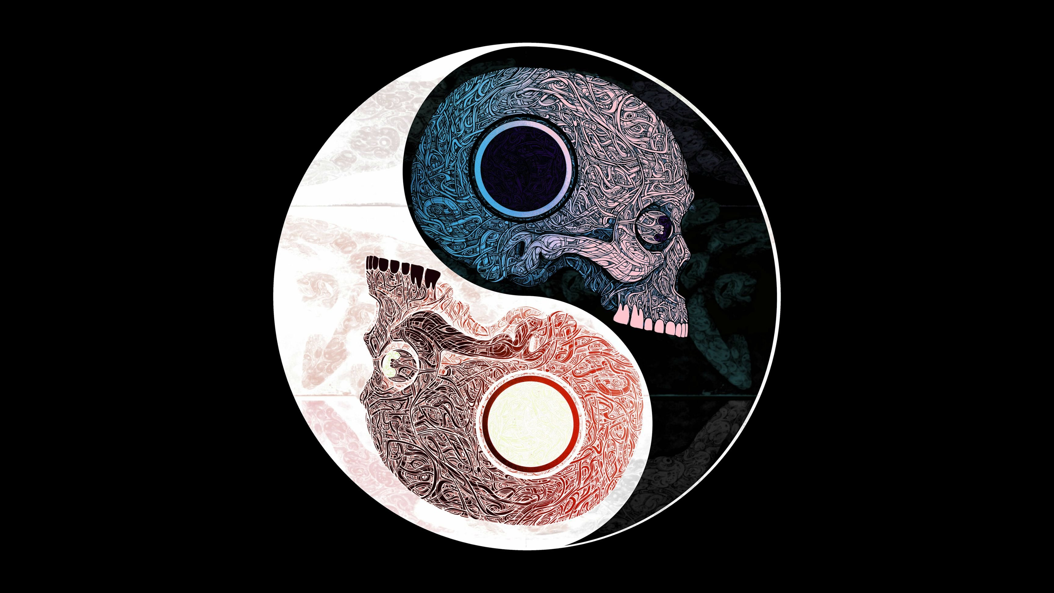 skull yin yang 4k hd wallpaper