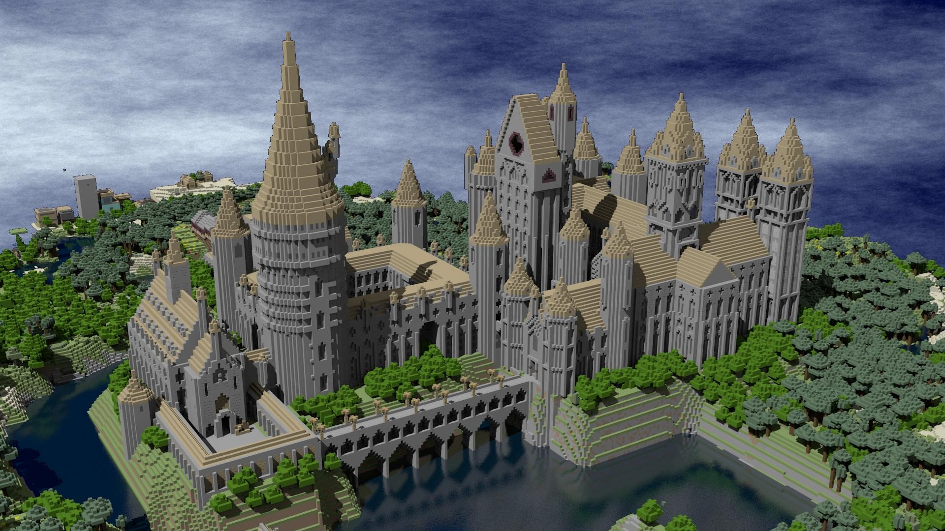 Hogwarts Minecraft Hd Wallpaper