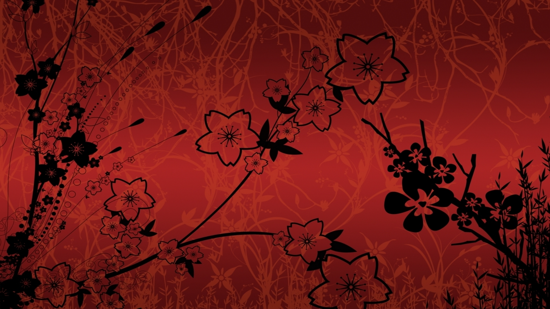 Red And Black Flowers Background Hd Wallpaper