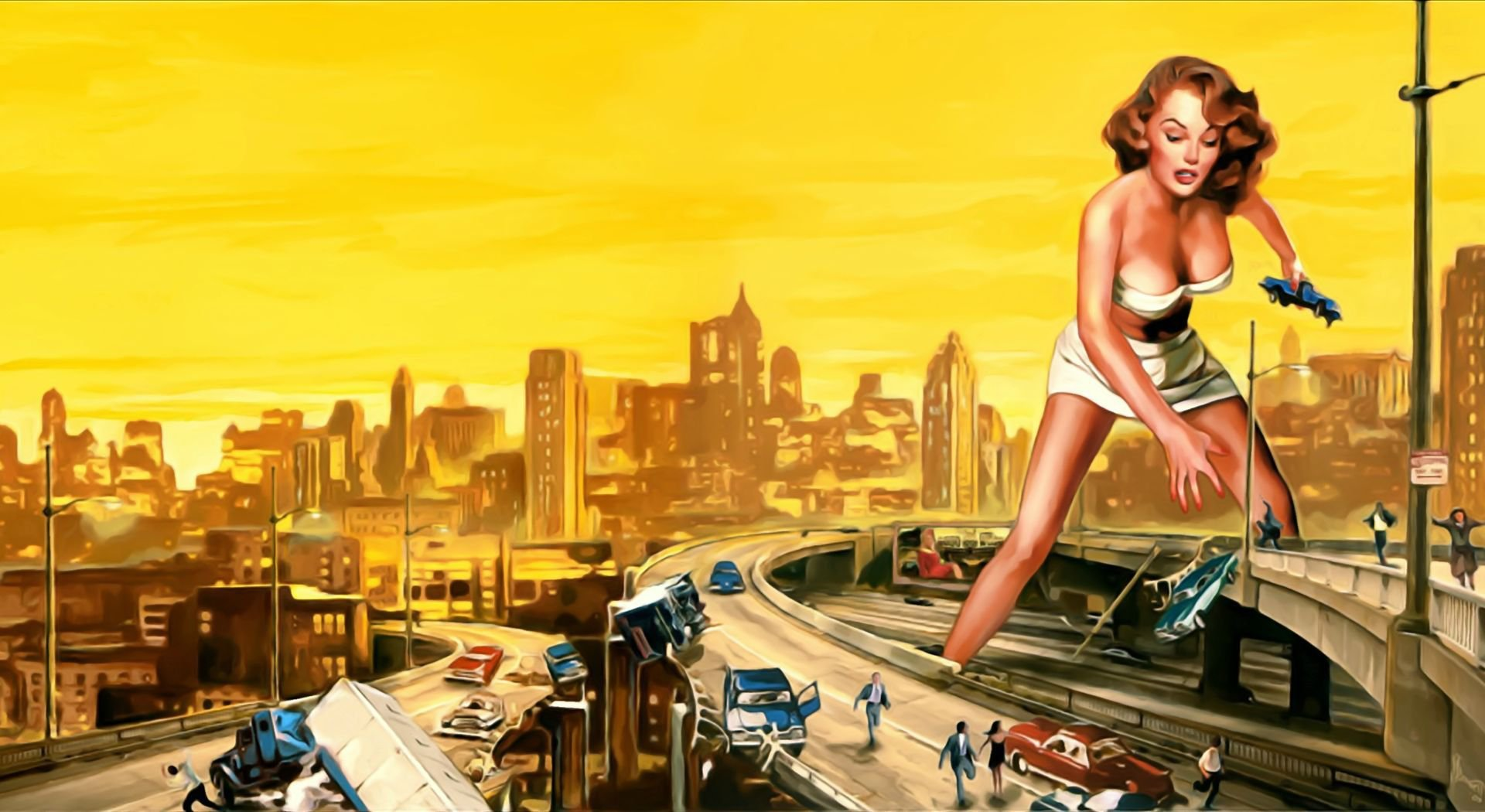 Pin Up Styled Girl Destroying A City Hd Wallpaper