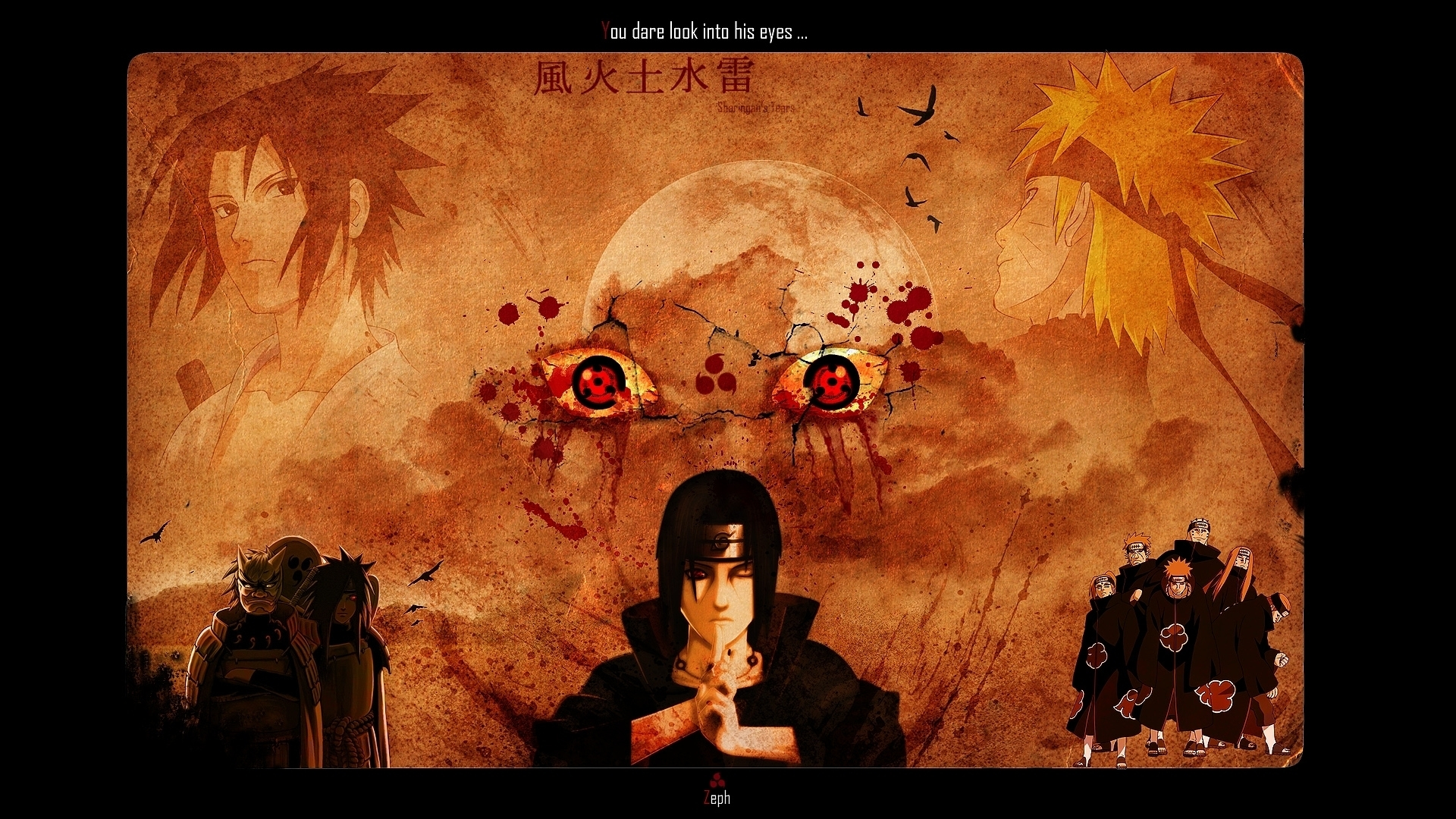 itachi sharingan you dare look into his eyes hd