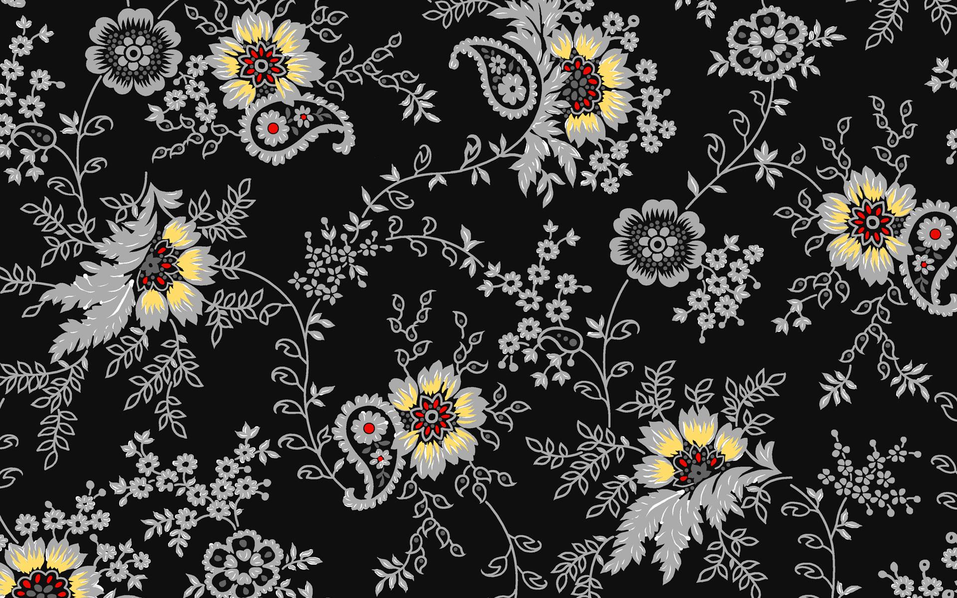 Black Flower Pattern Hd Wallpaper