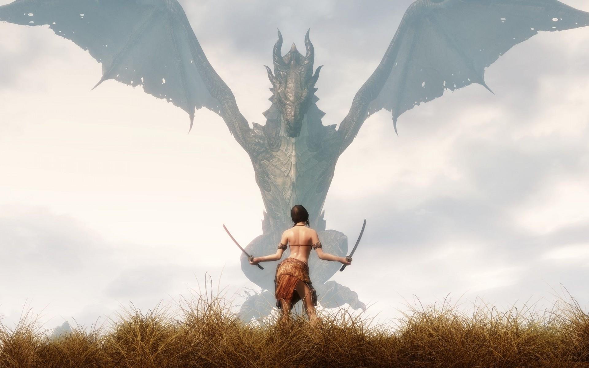 Dragons Swords The Elder Scrolls V Skyrim Wallpaper