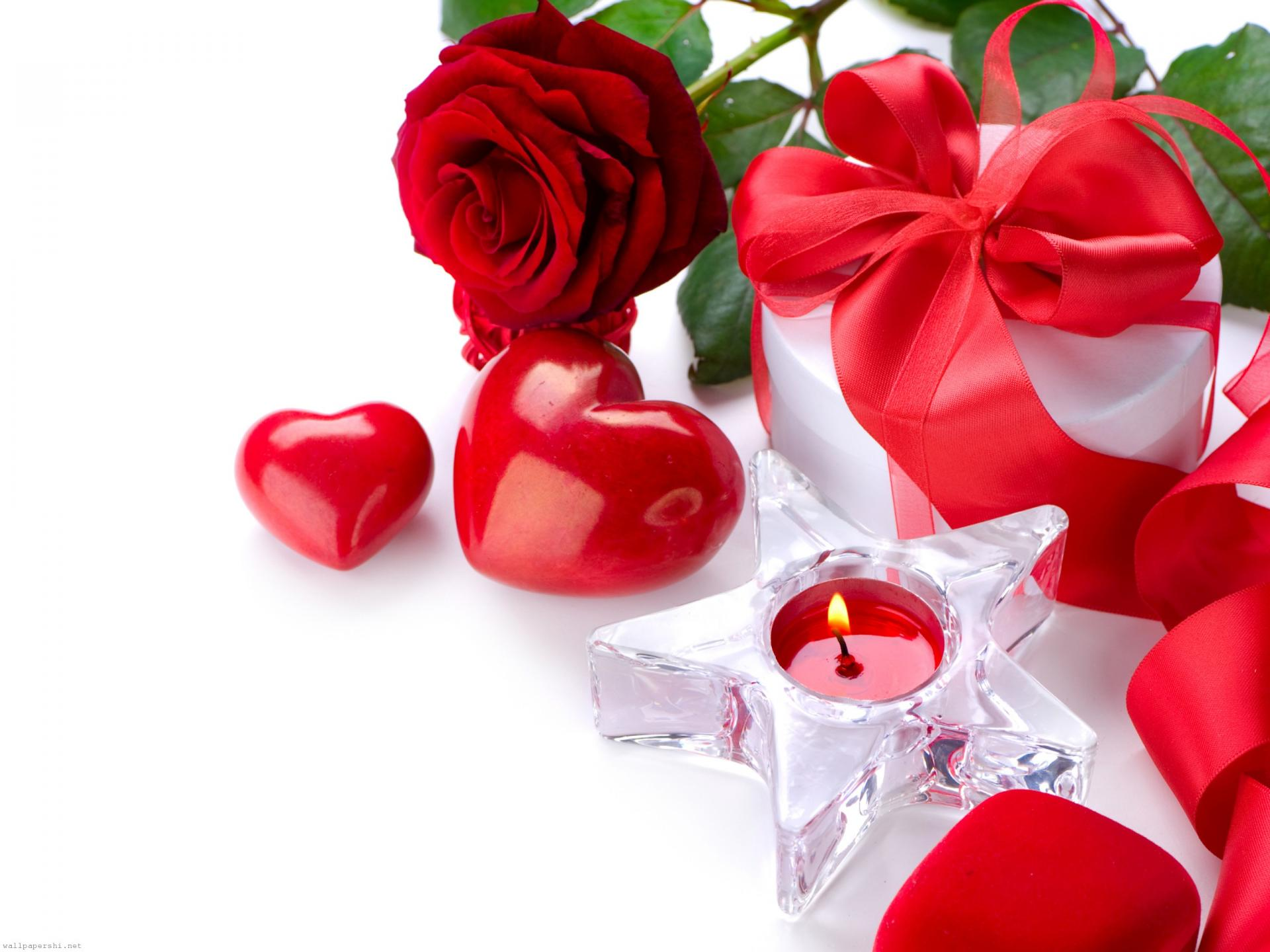 Red Flowers Roses a Candle Heart Gifts Crystal Holiday wallpaper