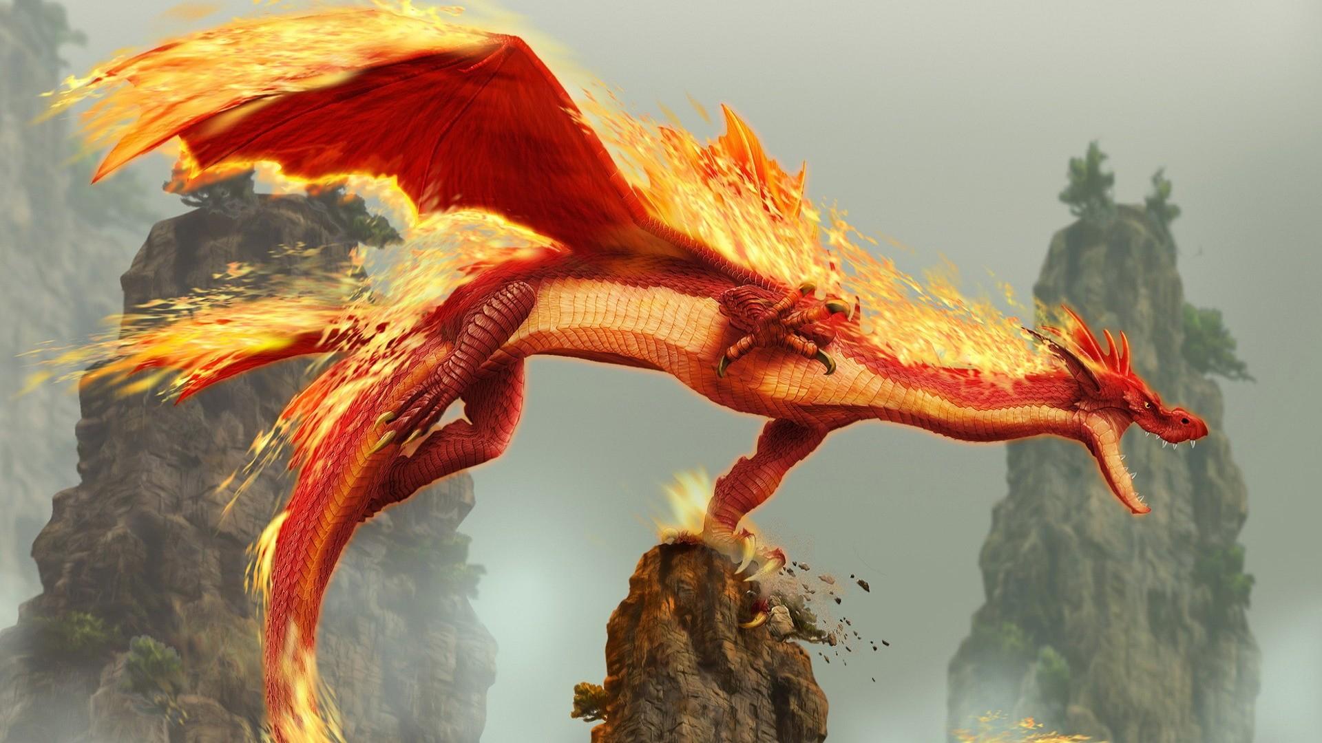 Flying Fire Dragon Hd Wallpaper