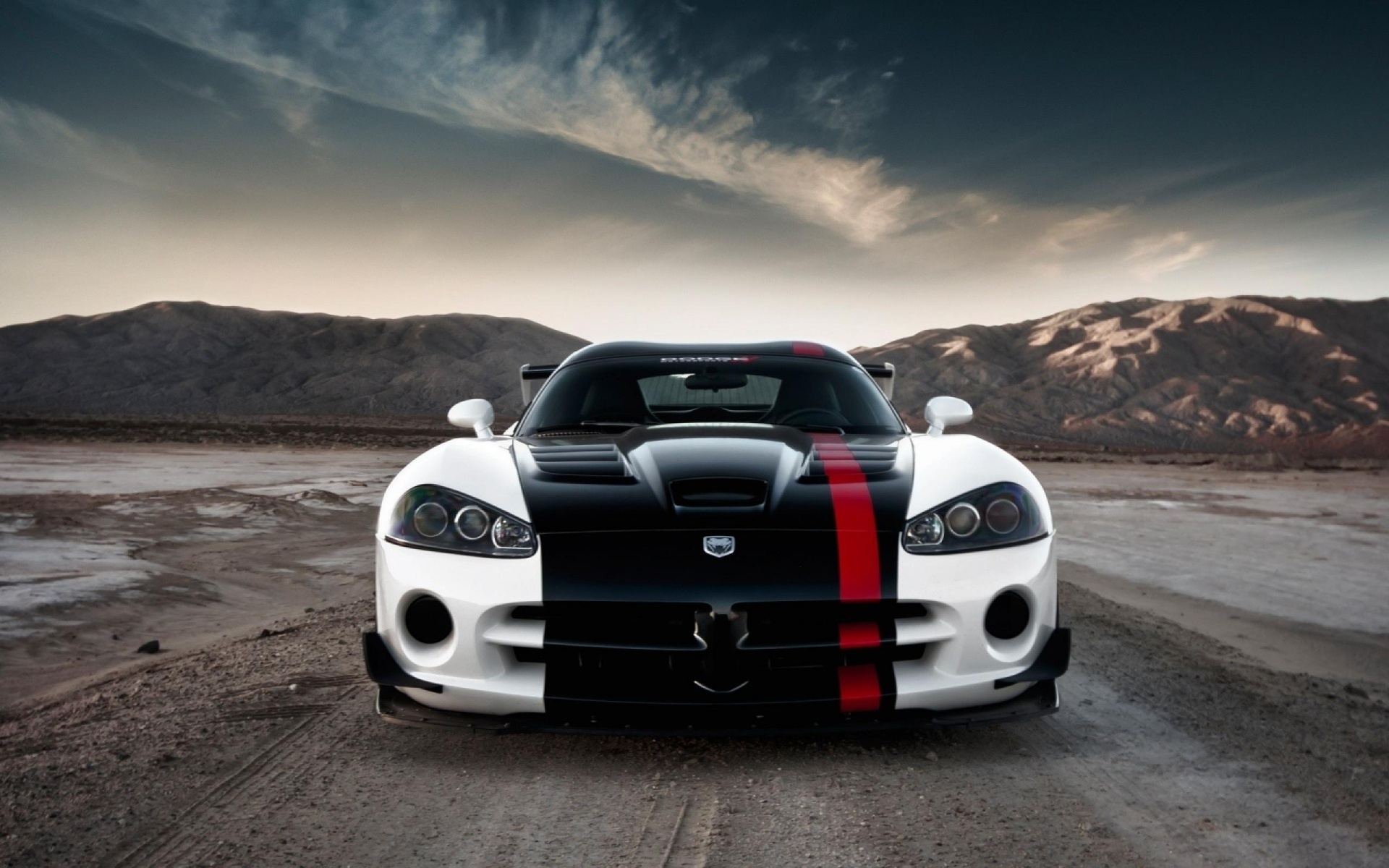 Black And White Dodge Viper Car Widescreen wallpaper