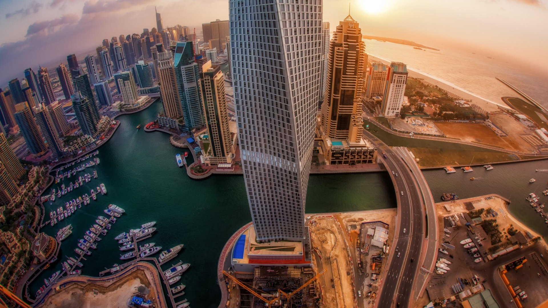 United Arab Emirates Skyscrapers Top View Sunrise City Dubai wallpaper