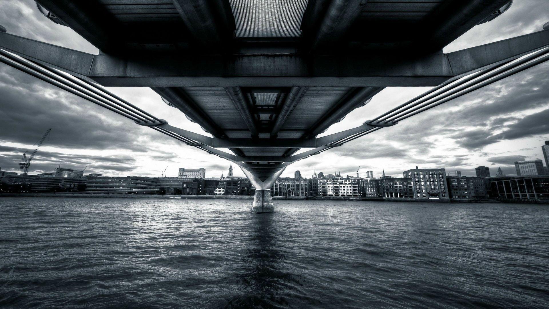 Black And White Bridge Hd Wallpaper