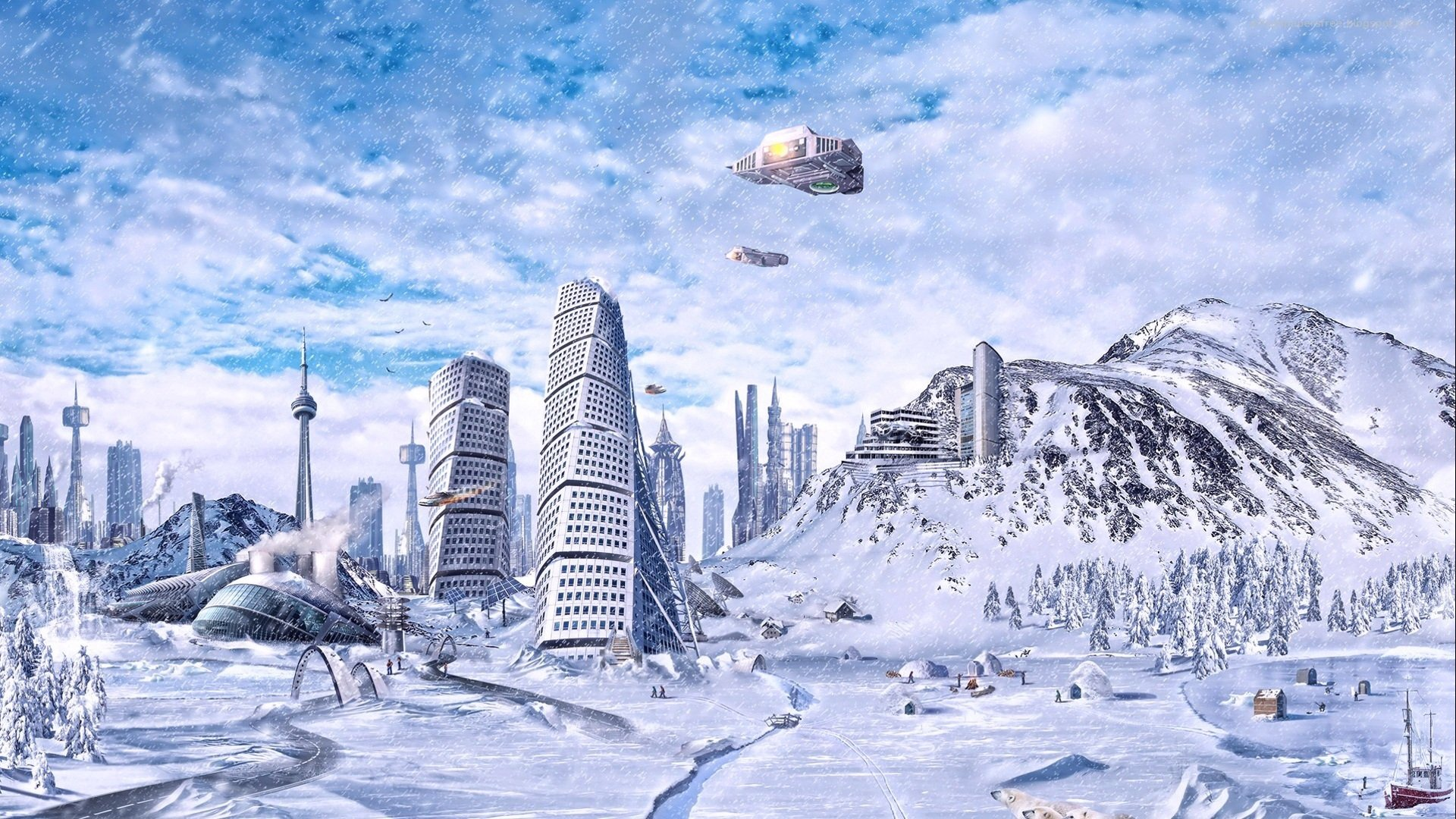 3d ice age future fantasy city hd wallpaper. Black Bedroom Furniture Sets. Home Design Ideas