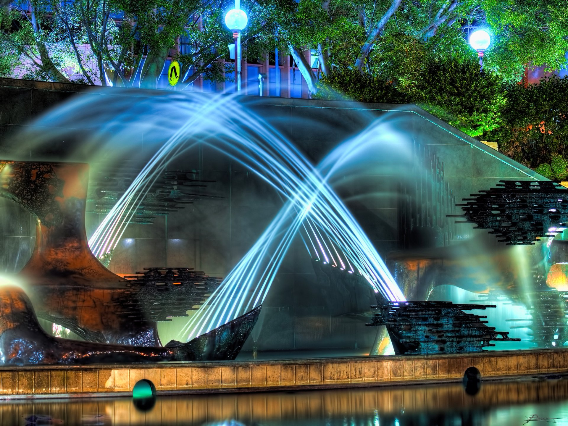 Symphony of the Night Fountain New South Wales Australia wallpaper