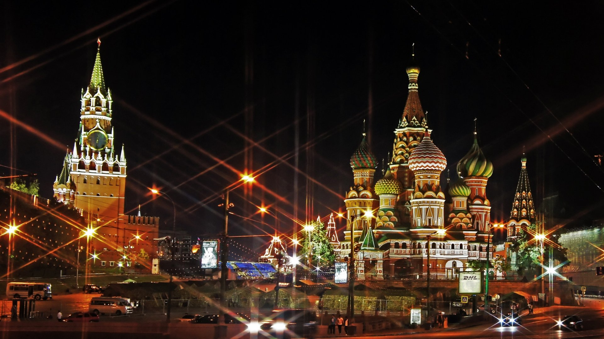 Moscow Russia Red Square Lights wallpaper