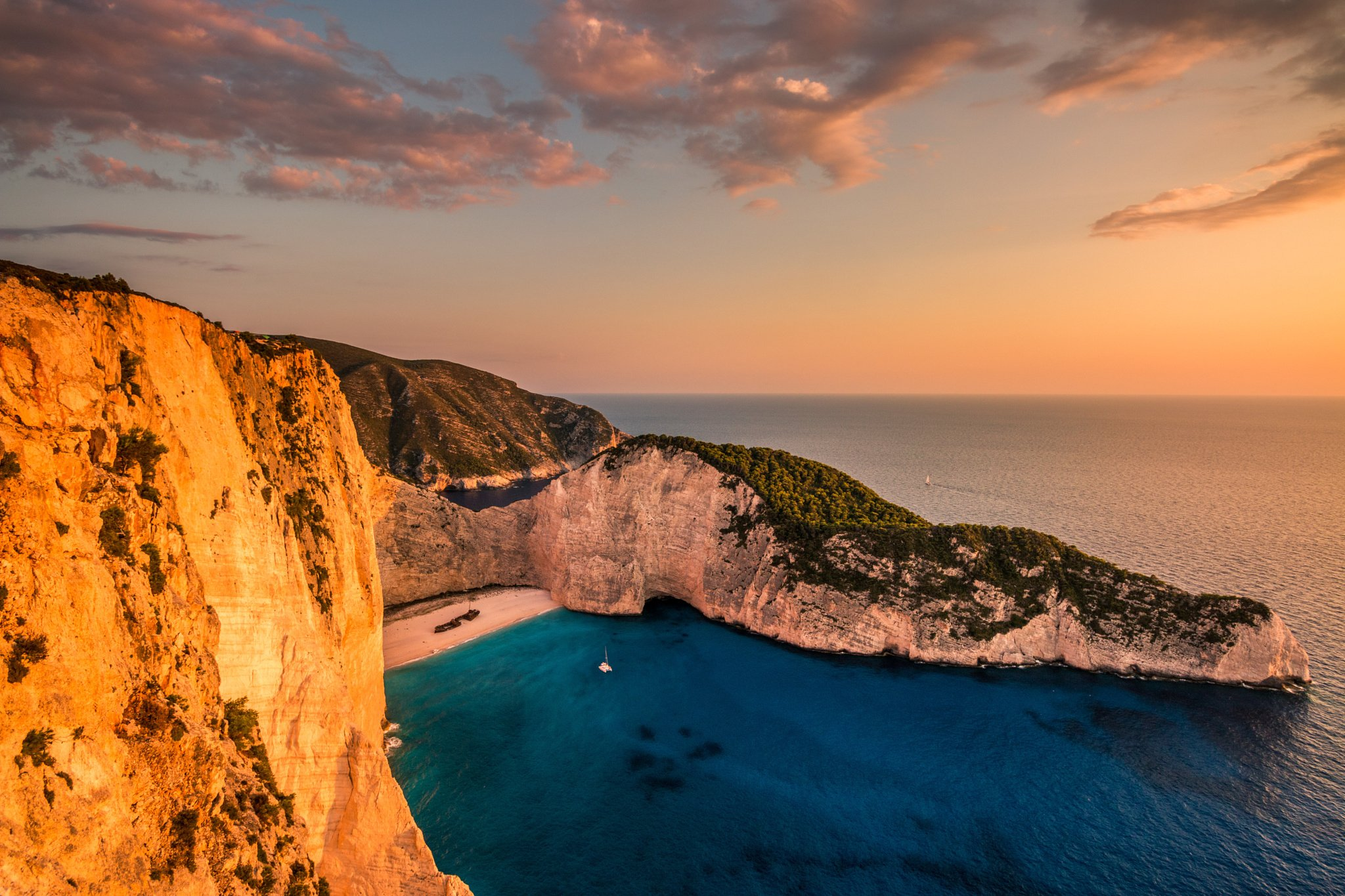 Shipwreck Bay In Zakynthos During Sunset Navagio Beach Greece Wallpaper
