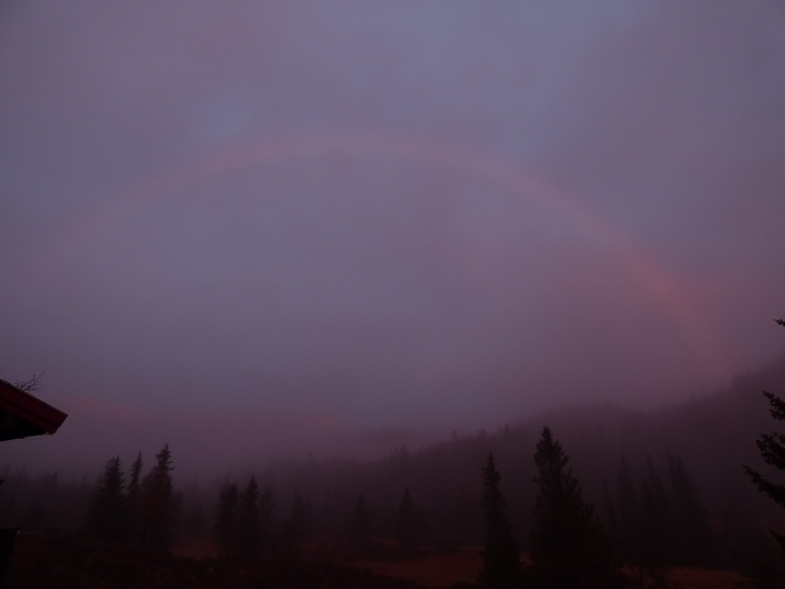 Rainbow in the Morning Fog You Can Only See the Red Parts of the Color Specter Norway wallpaper
