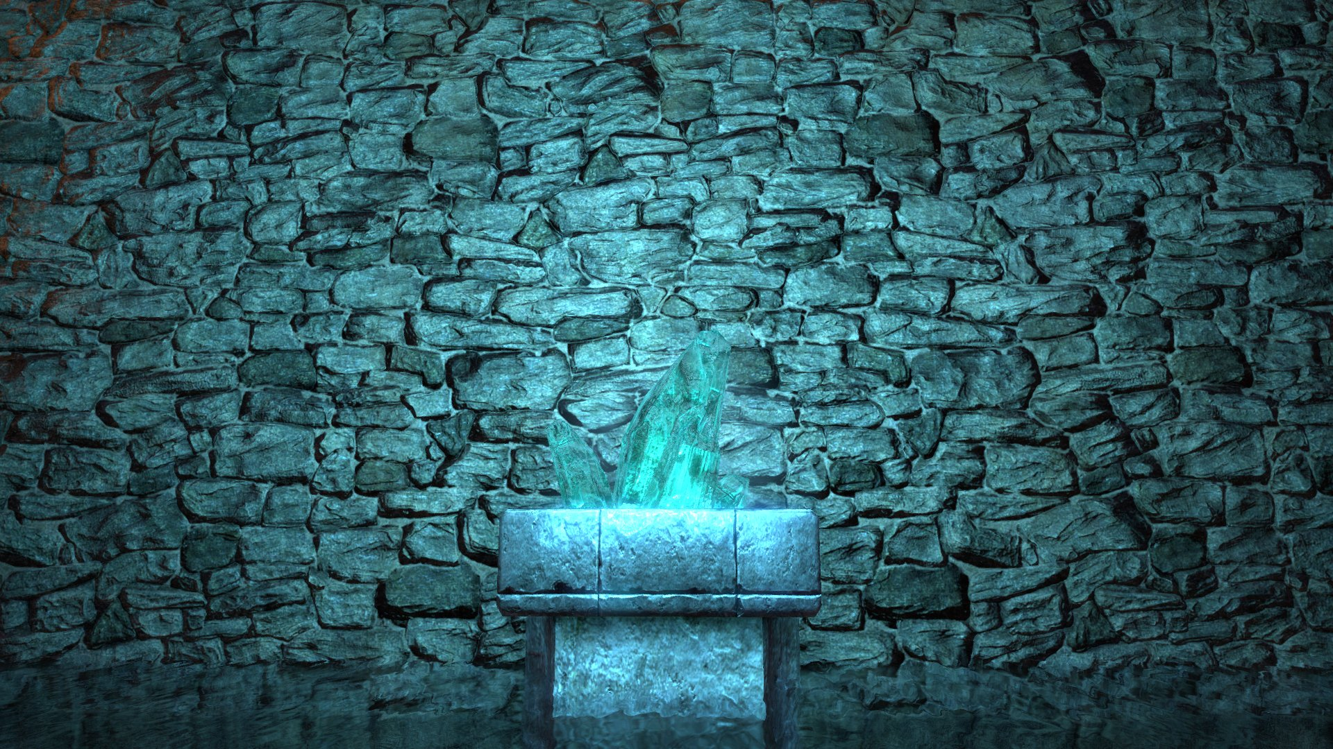 Shadowy Stone Wall and Glowing Crystal in Pool of Water wallpaper