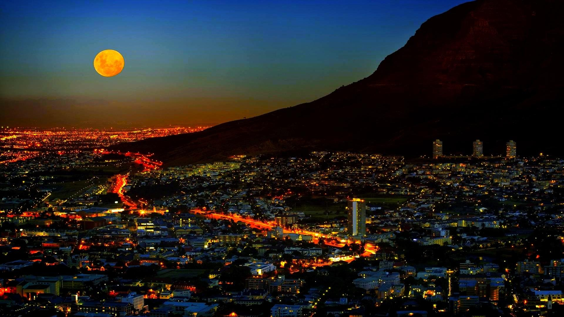 Moonlighted City Cape Town Lights South Africa 17351 Hd