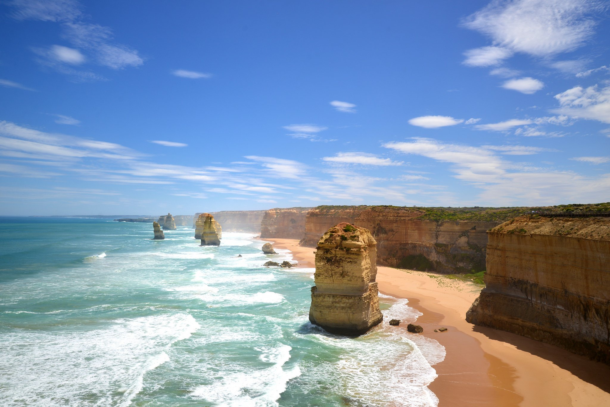 Blue Skies Over the Twelve Apostles in Victoria Australia wallpaper