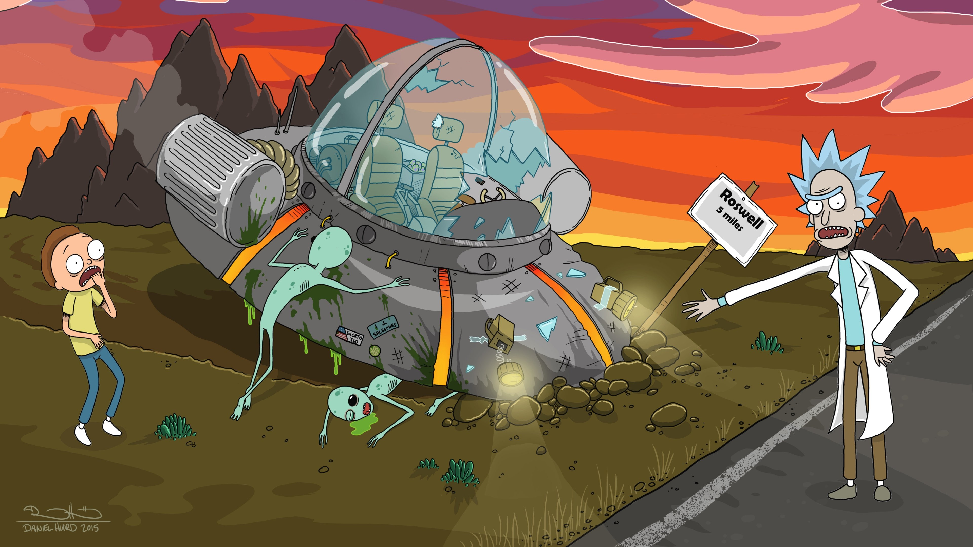 Roswell Crash Rick And Morty 4k Wallpaper