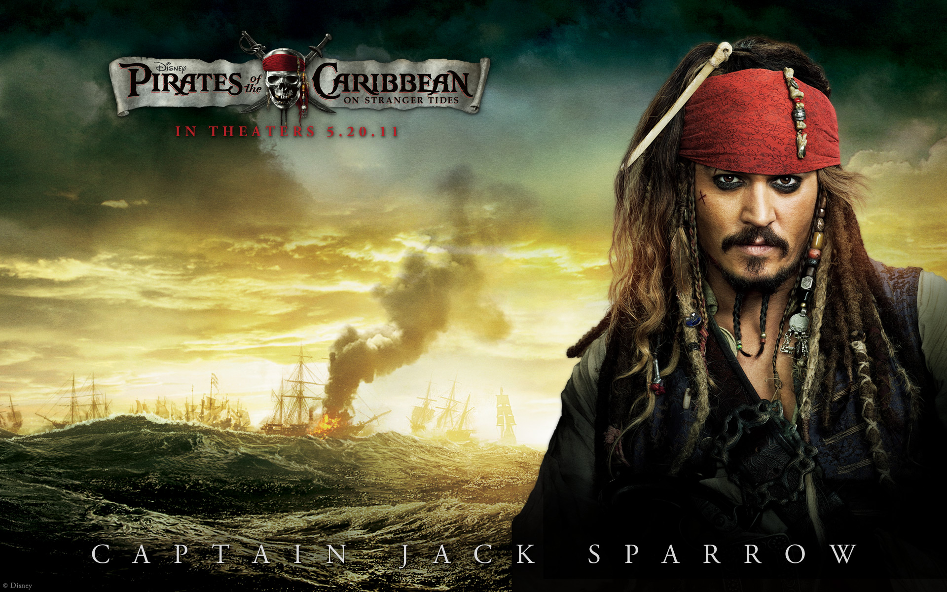 Johnny Depp in Pirates Of The Caribbean 4 wallpaper