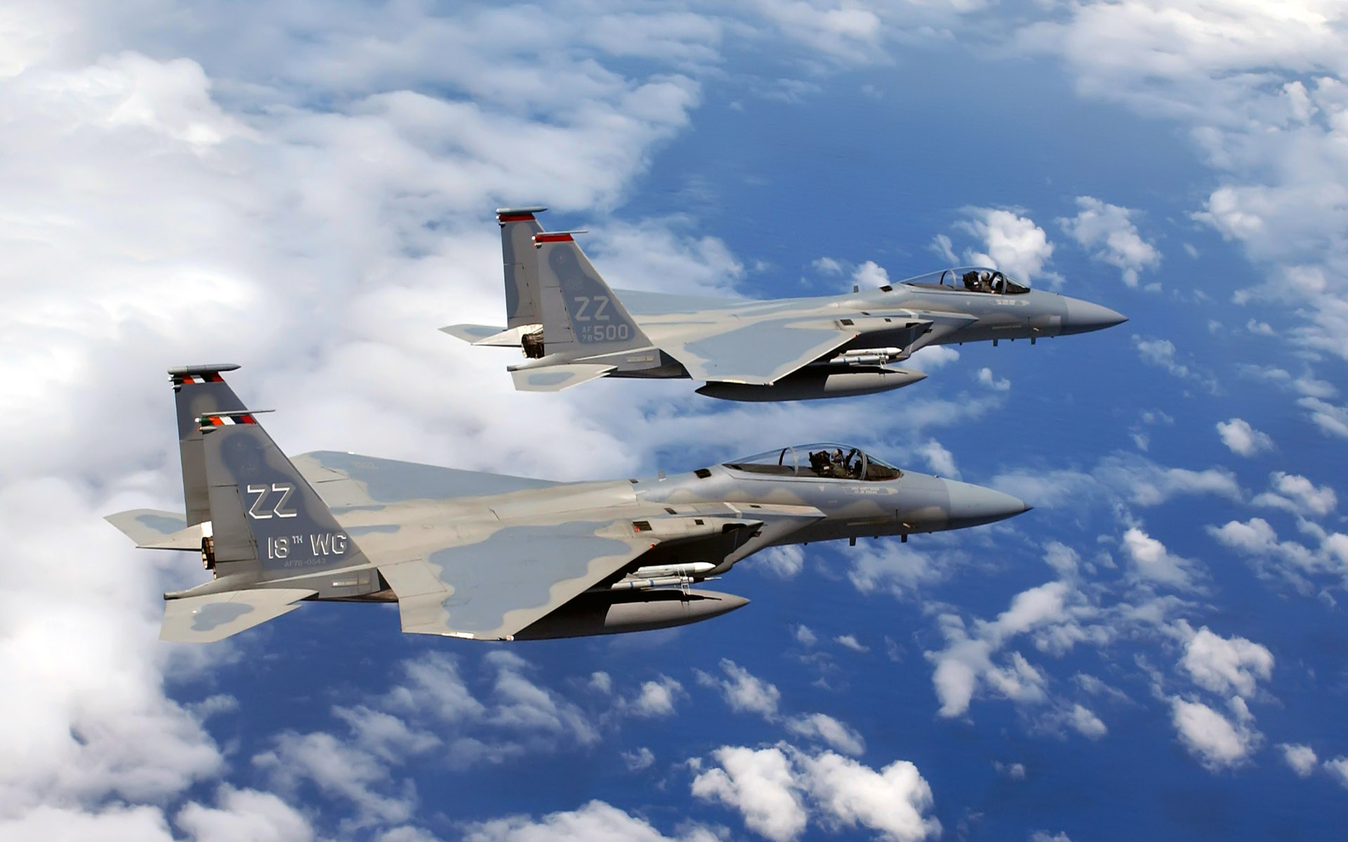 F 15C Eagles Flies Over Okinawa wallpaper