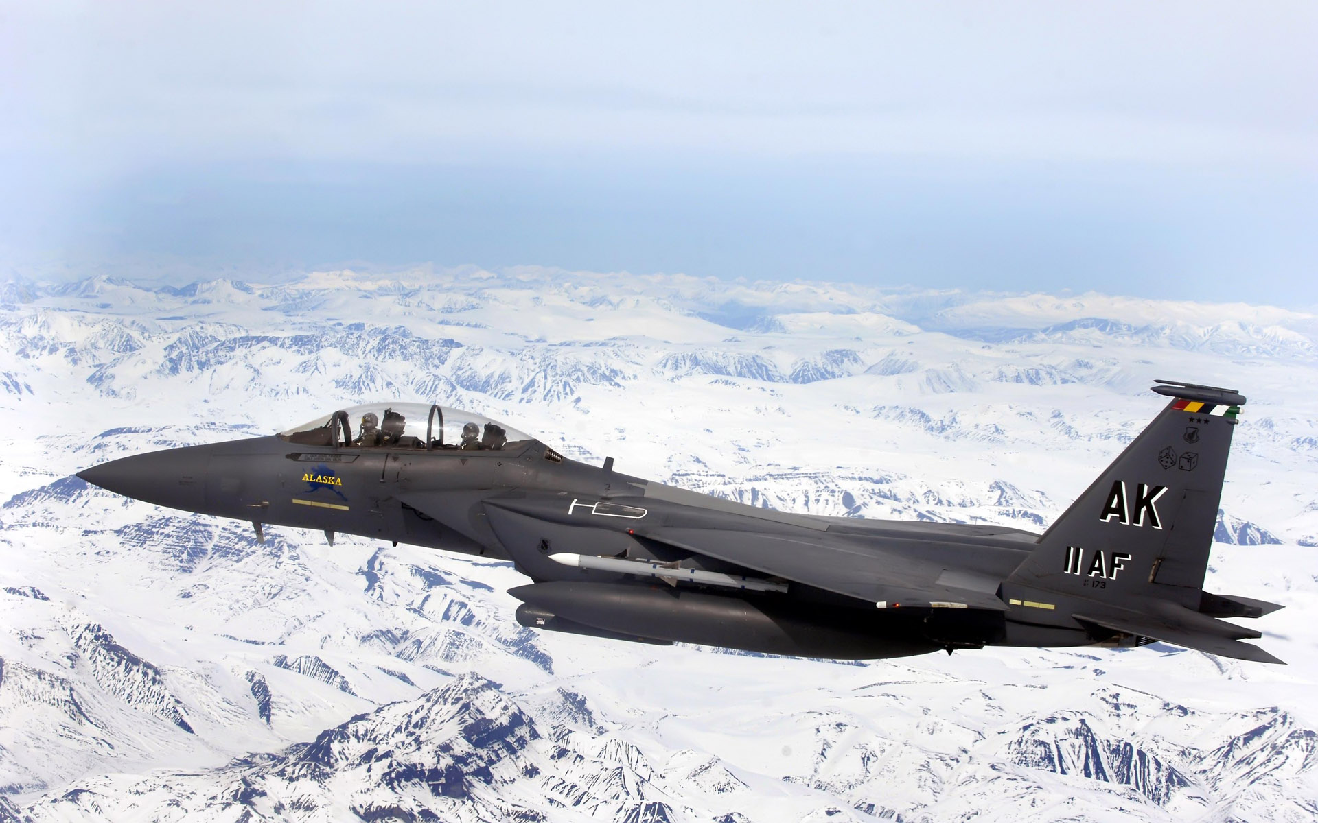 F 15E Strike Eagle Flys Over Glacial Fields wallpaper