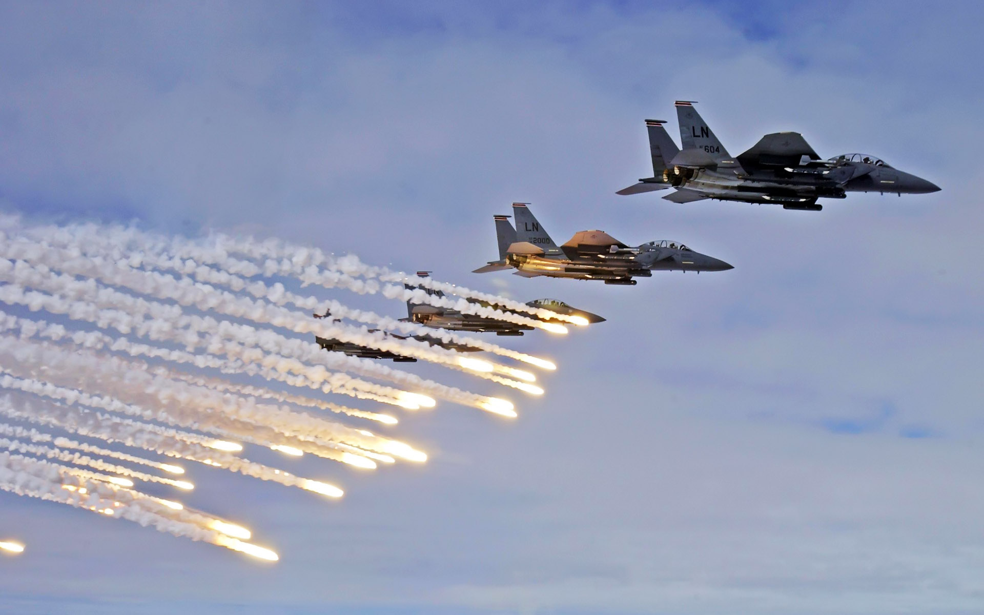 F 15E Strike Eagles Launch Chaffs and Flares wallpaper