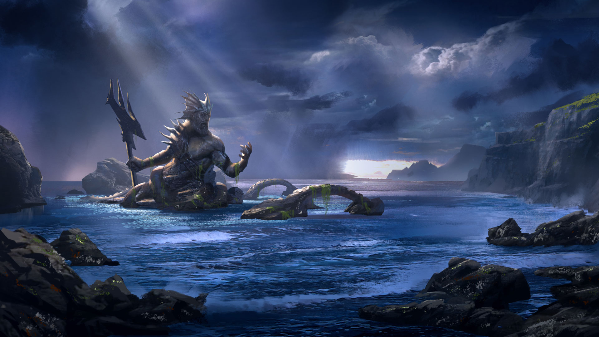 God Of War Ascension Poseidon Hd Wallpaper