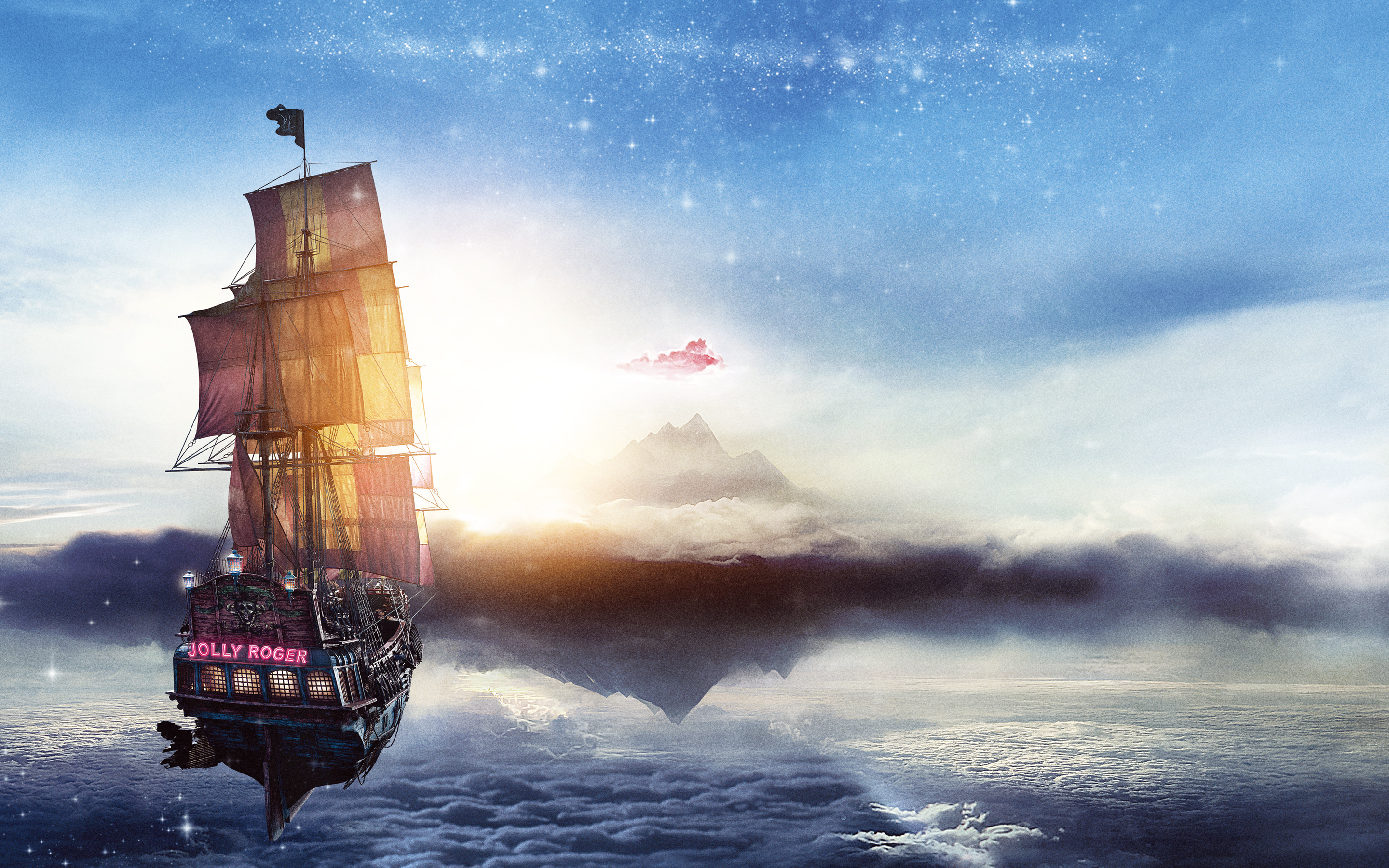 Jolly Roger Pan Pirate Ship wallpaper