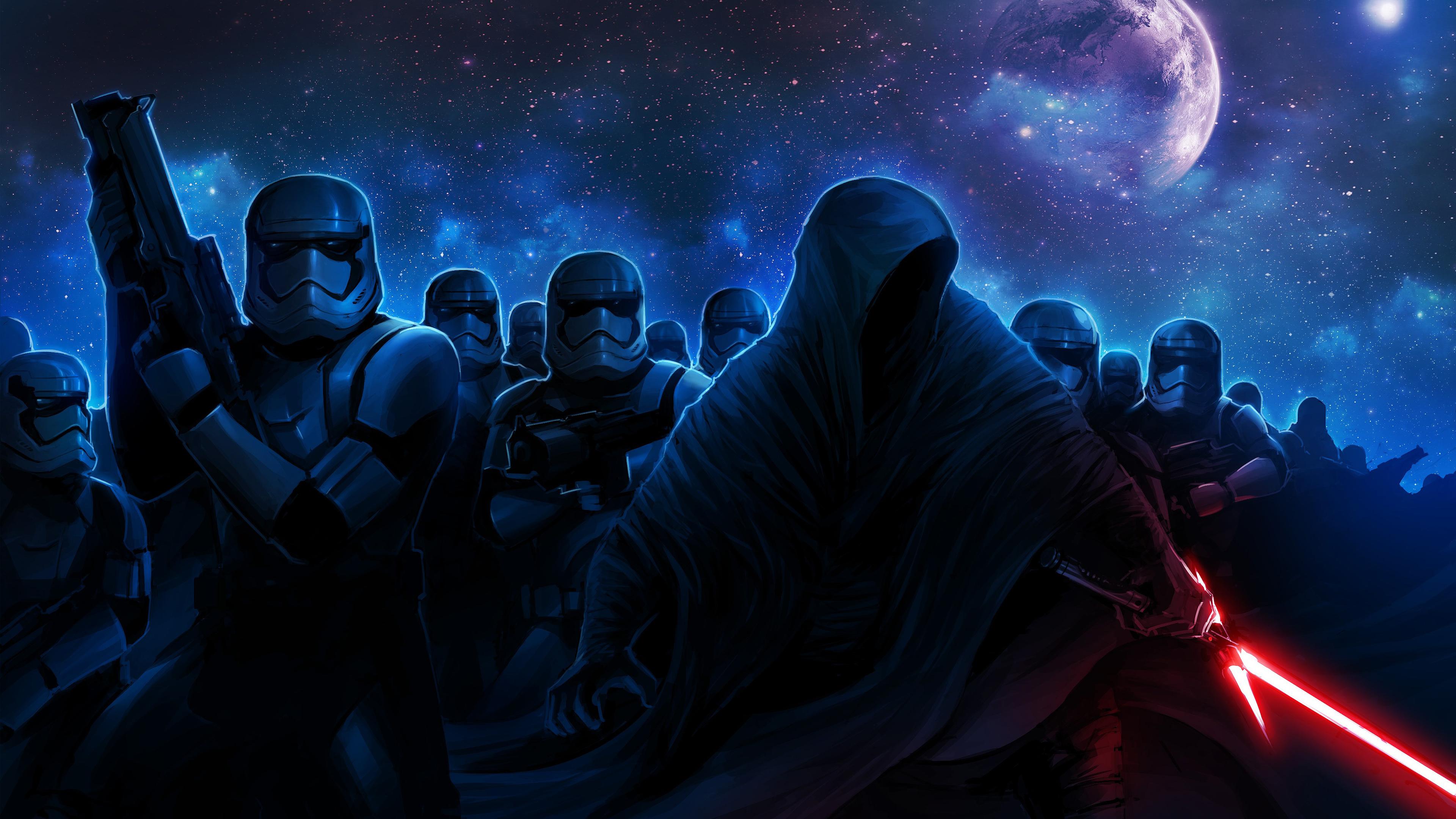 Stormtroopers Darth Vader 4K wallpaper