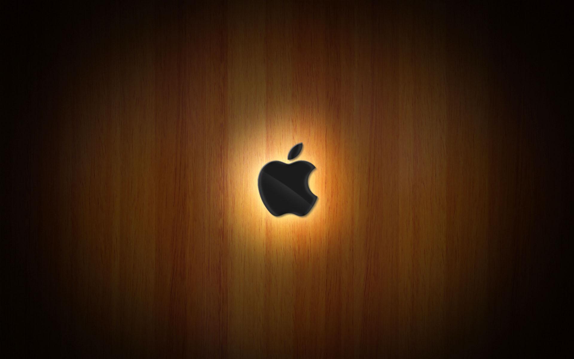 wooden glow of apple wallpaper
