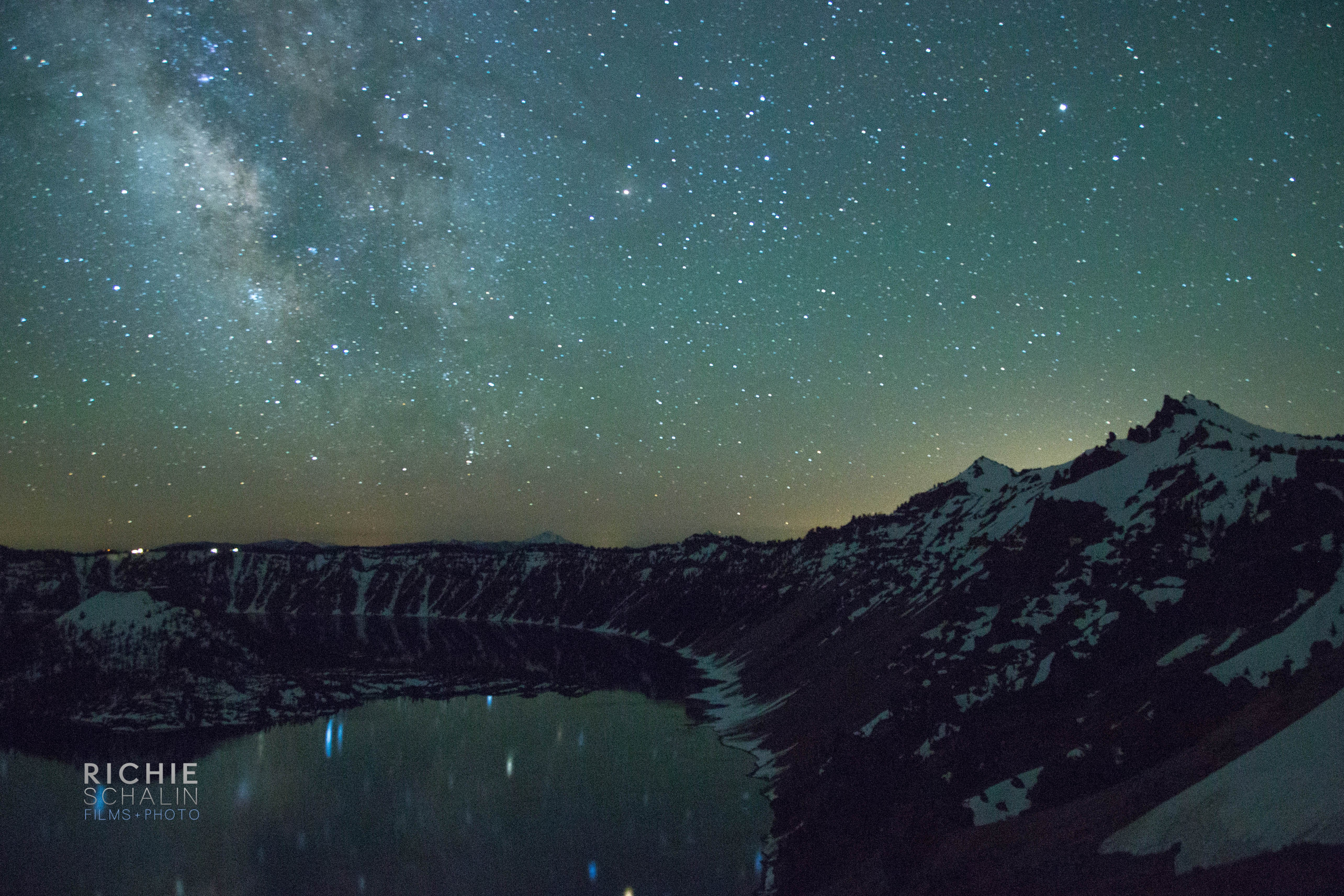 Night Sky Over Crater Lake wallpaper
