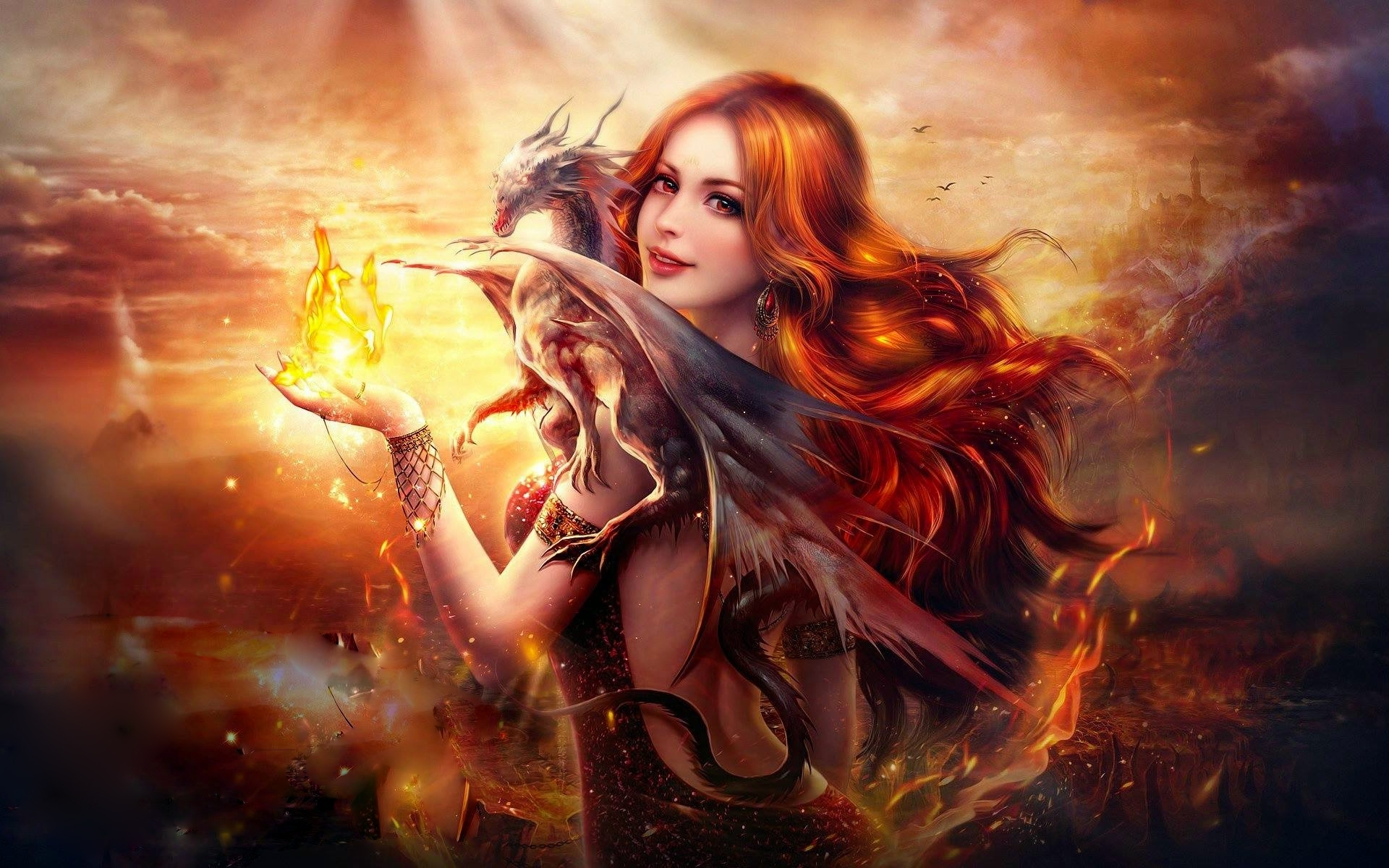 Dragon Fire Fantasy Girl wallpaper
