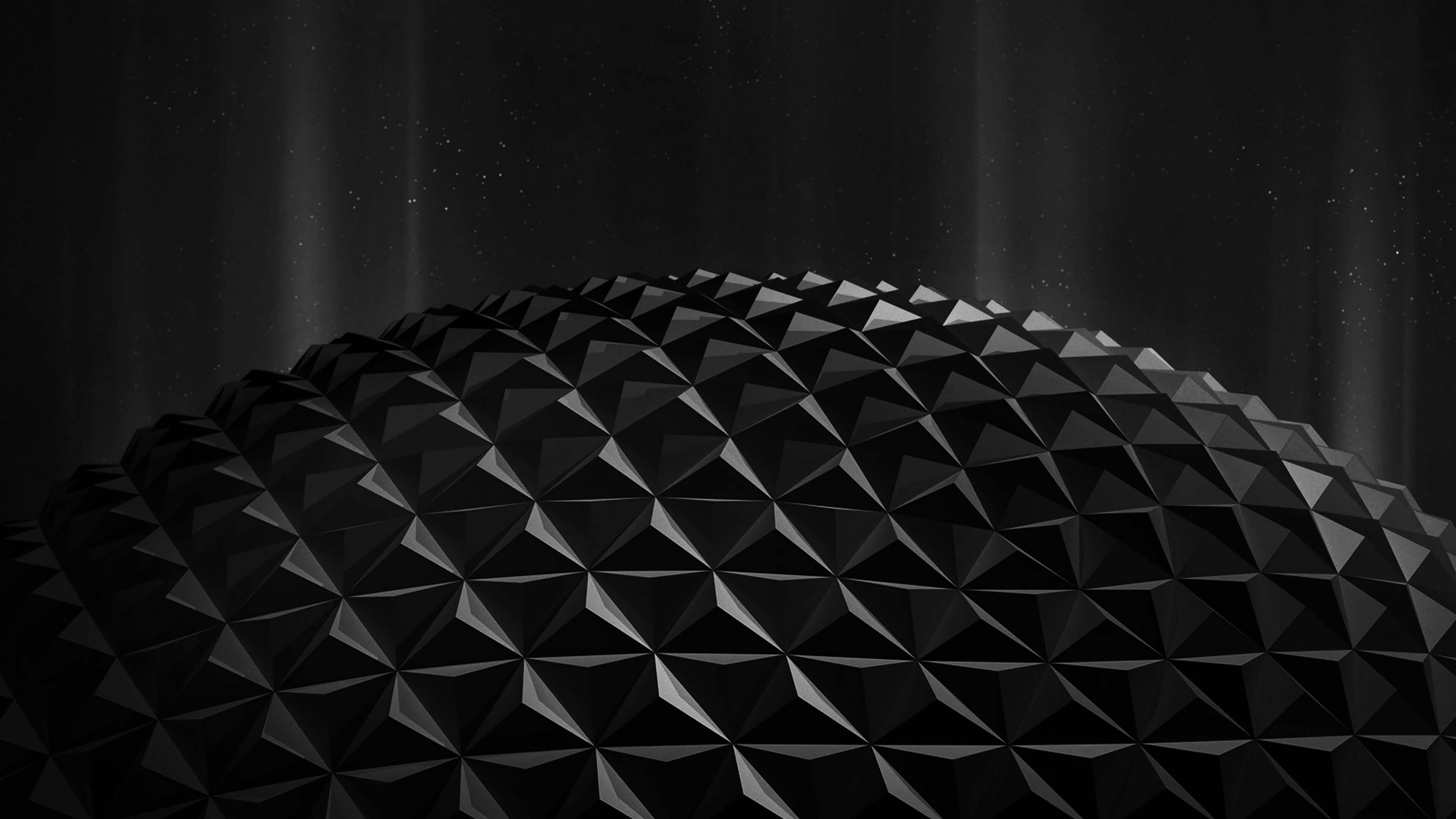 Black Polygon Planet 4K wallpaper
