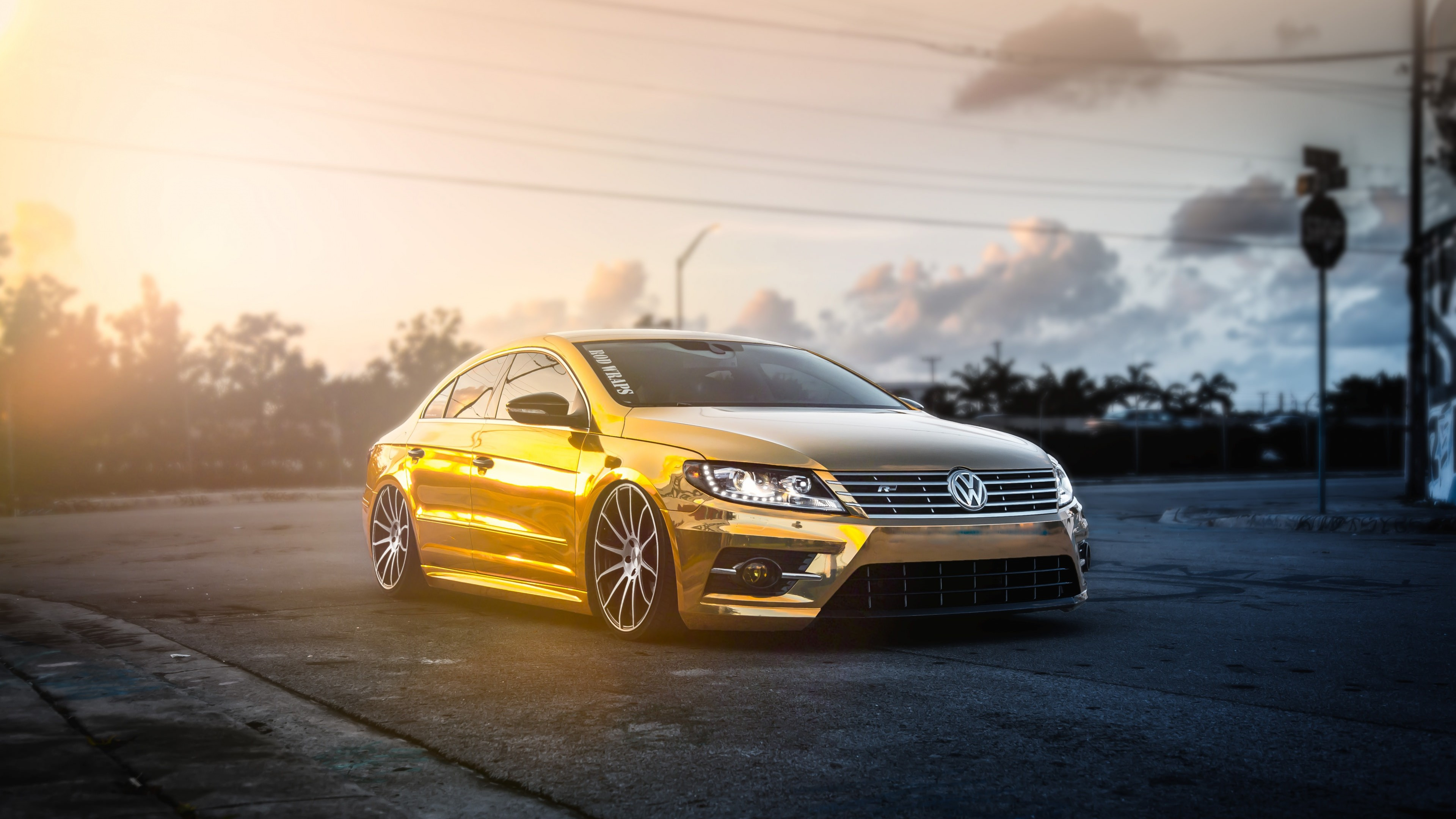 Golden Volkswagen Passat CC wallpaper