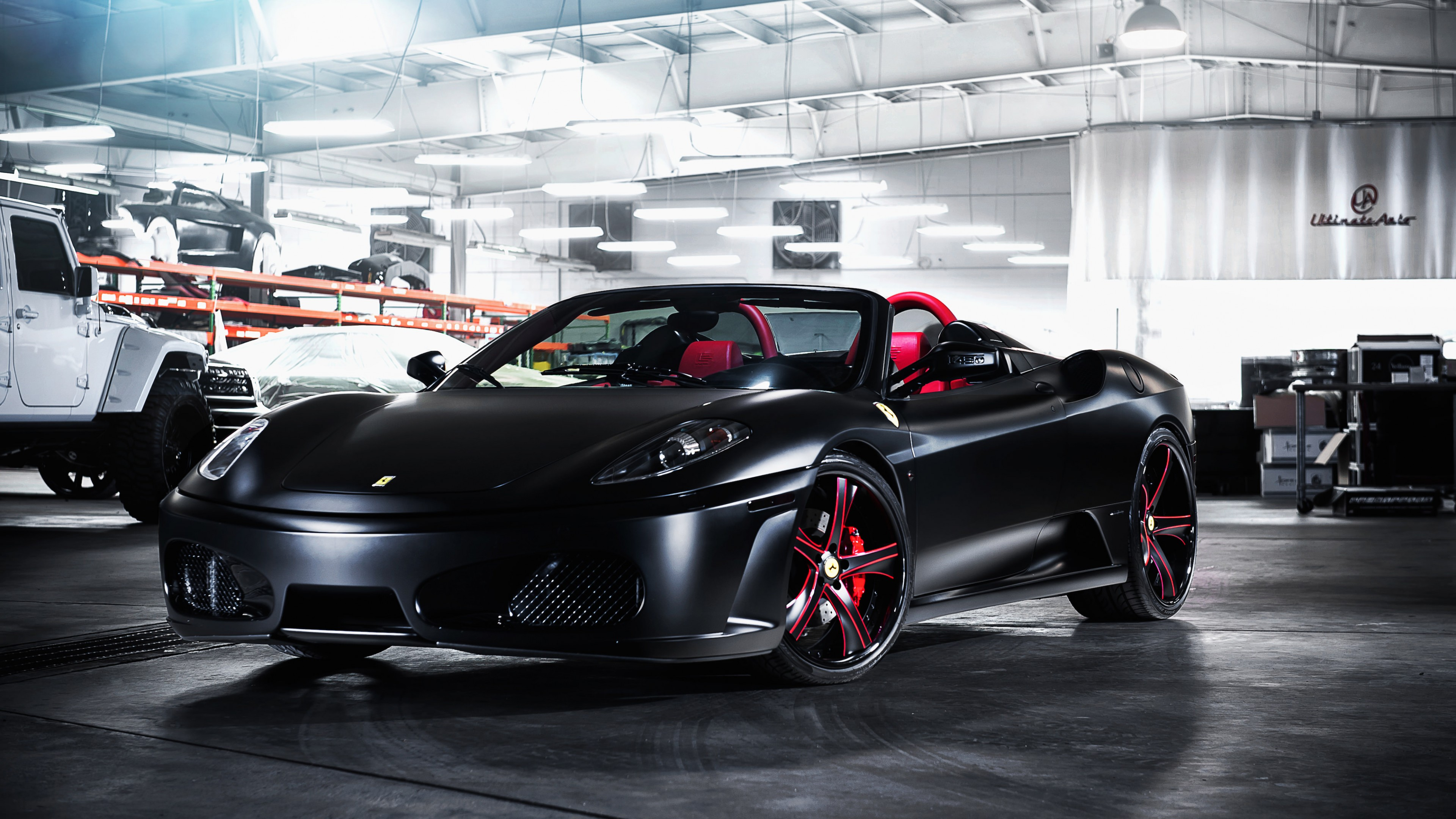 black ferrari wallpaper. matte black ferrari f on savini wheels 4k wallpaper