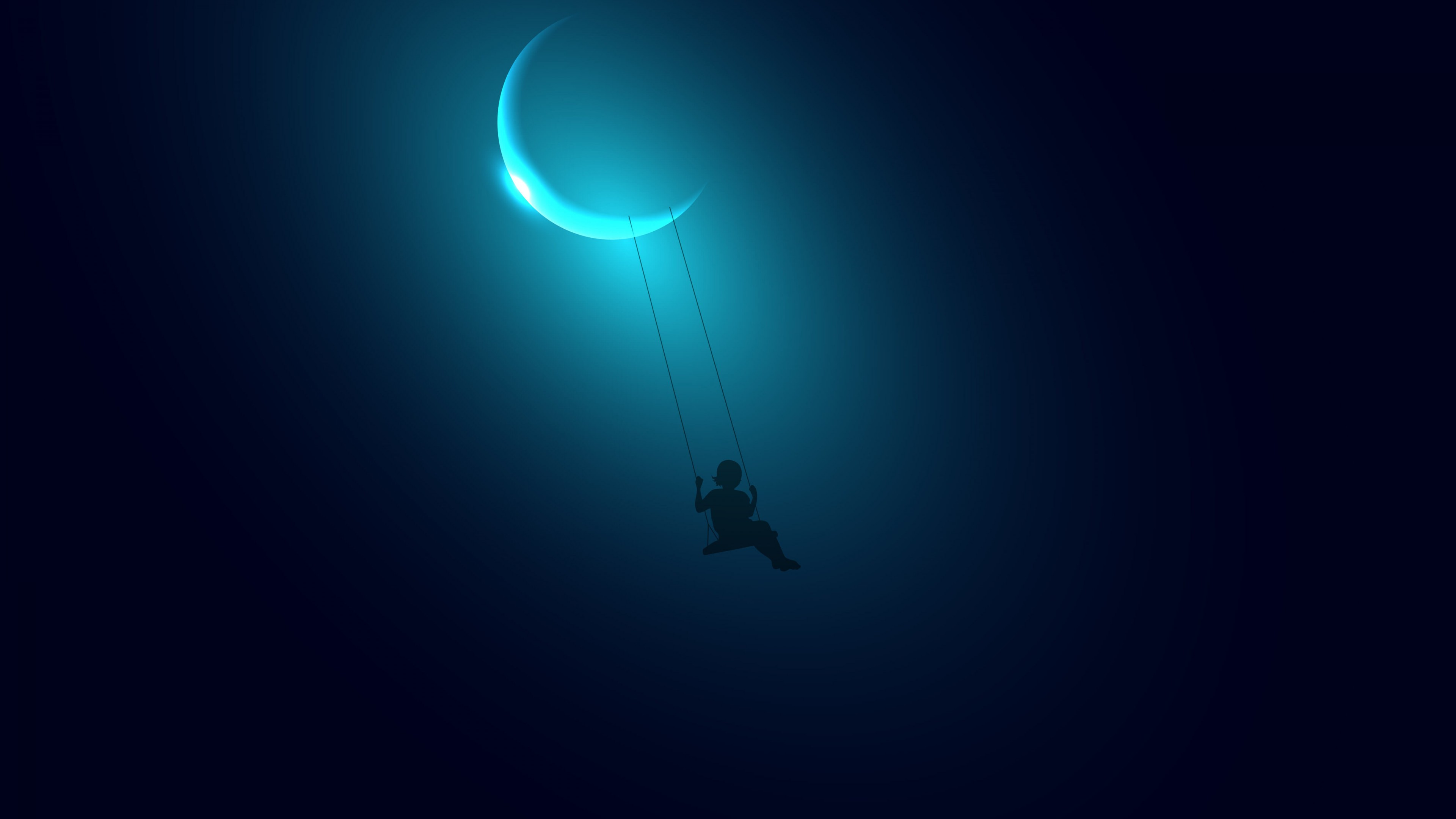 Little Girl Swinging on the Moon wallpaper