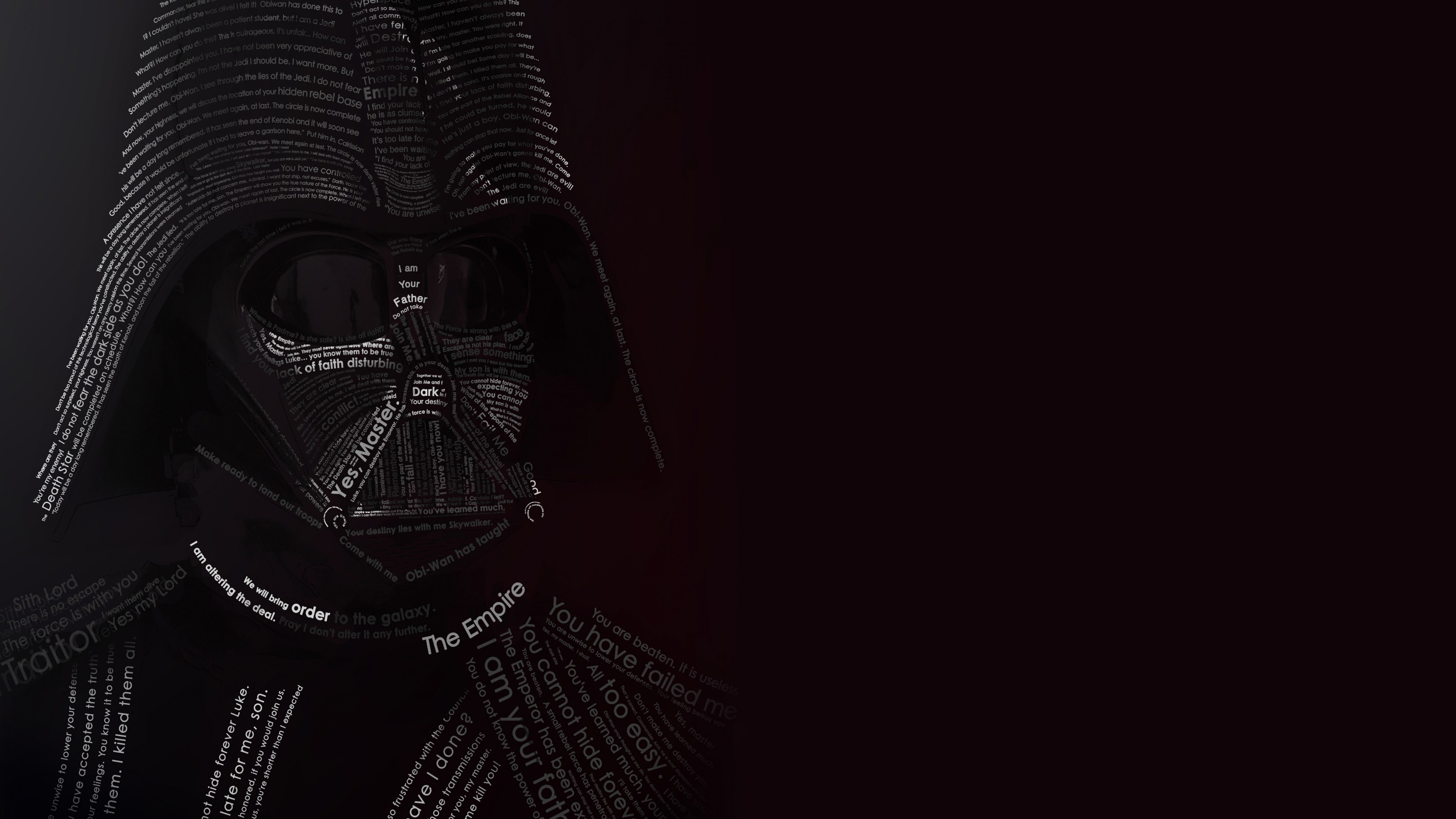 Darth vader typographic portrait 4k wallpaper Typography portrait